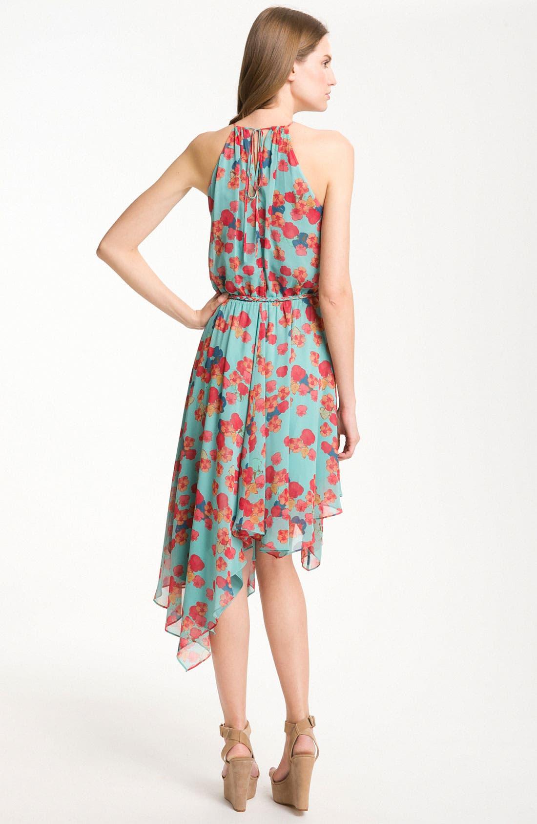 Alternate Image 2  - Jessica Simpson Handkerchief Hem Chiffon Halter Dress