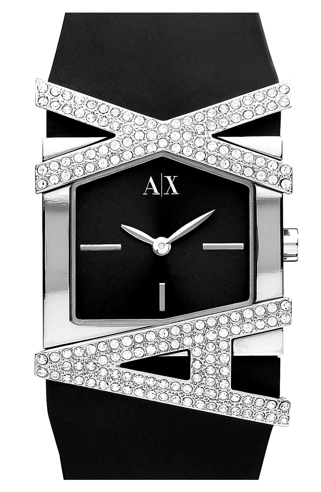 Main Image - AX Armani Exchange Pavé Logo Watch, 39mm x 28mm (Online Only)