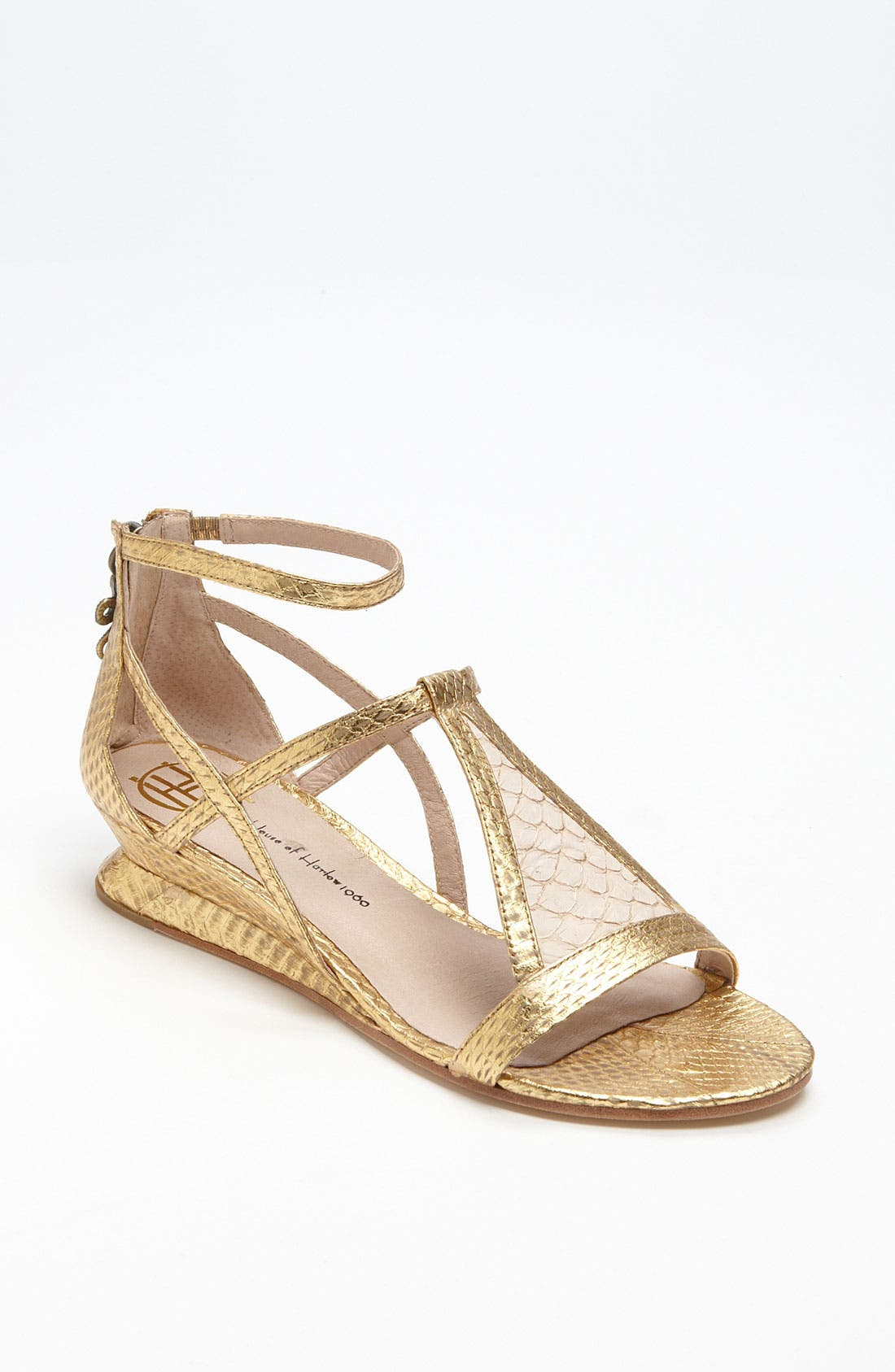 'Casmine' Sandal,                             Main thumbnail 1, color,                             Antique Gold