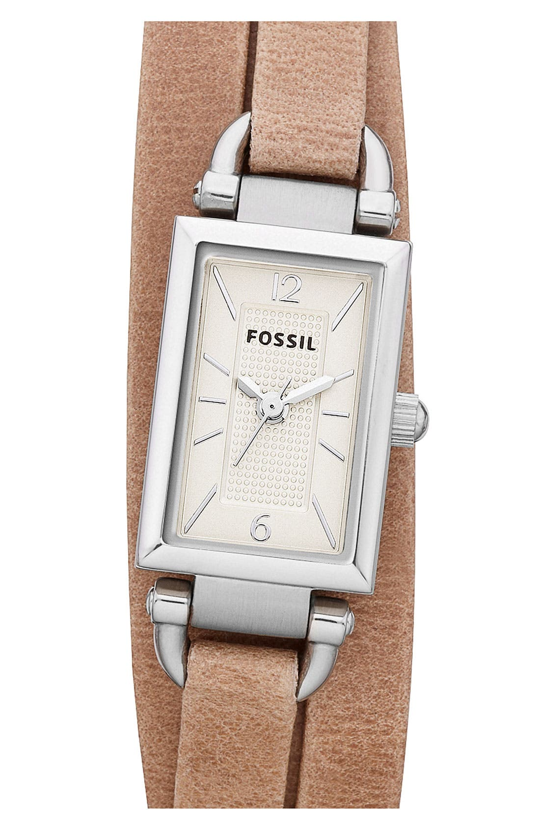 Main Image - Fossil 'Delaney' Leather Strap Watch, 16mm x 23mm