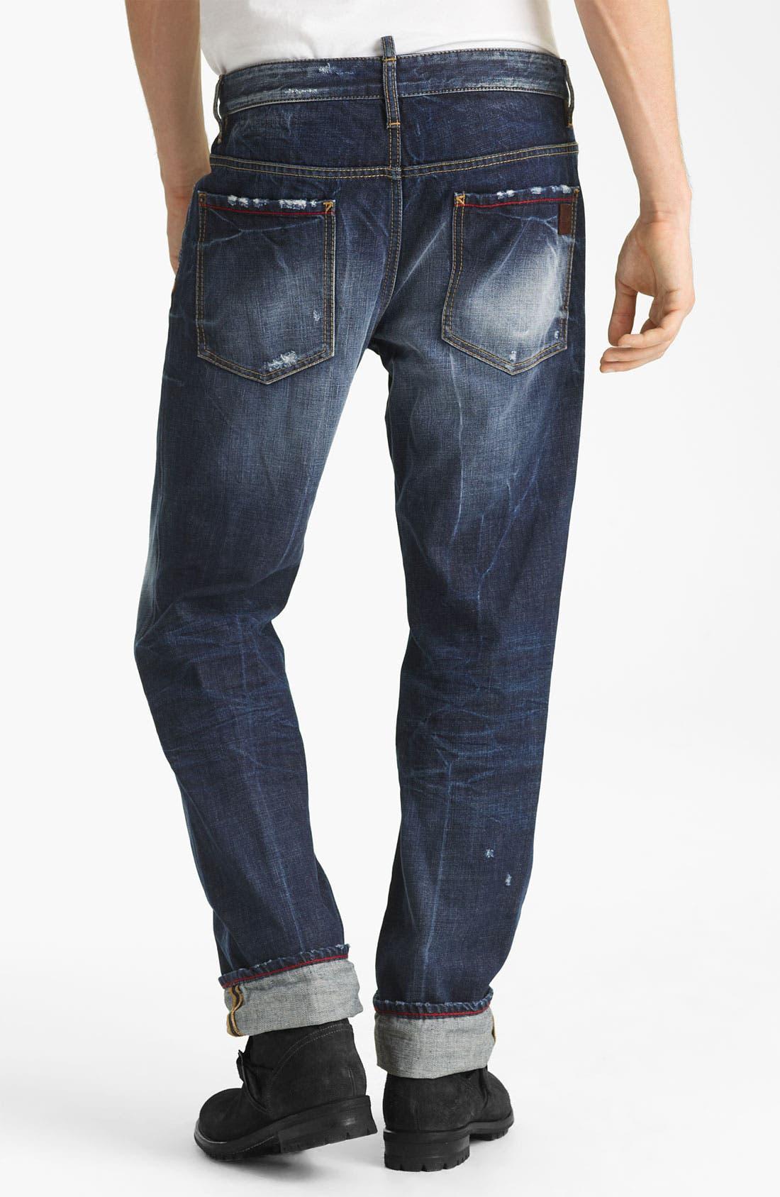Main Image - Dsquared2 'Dean' Straight Leg Jeans (Blue Wash)