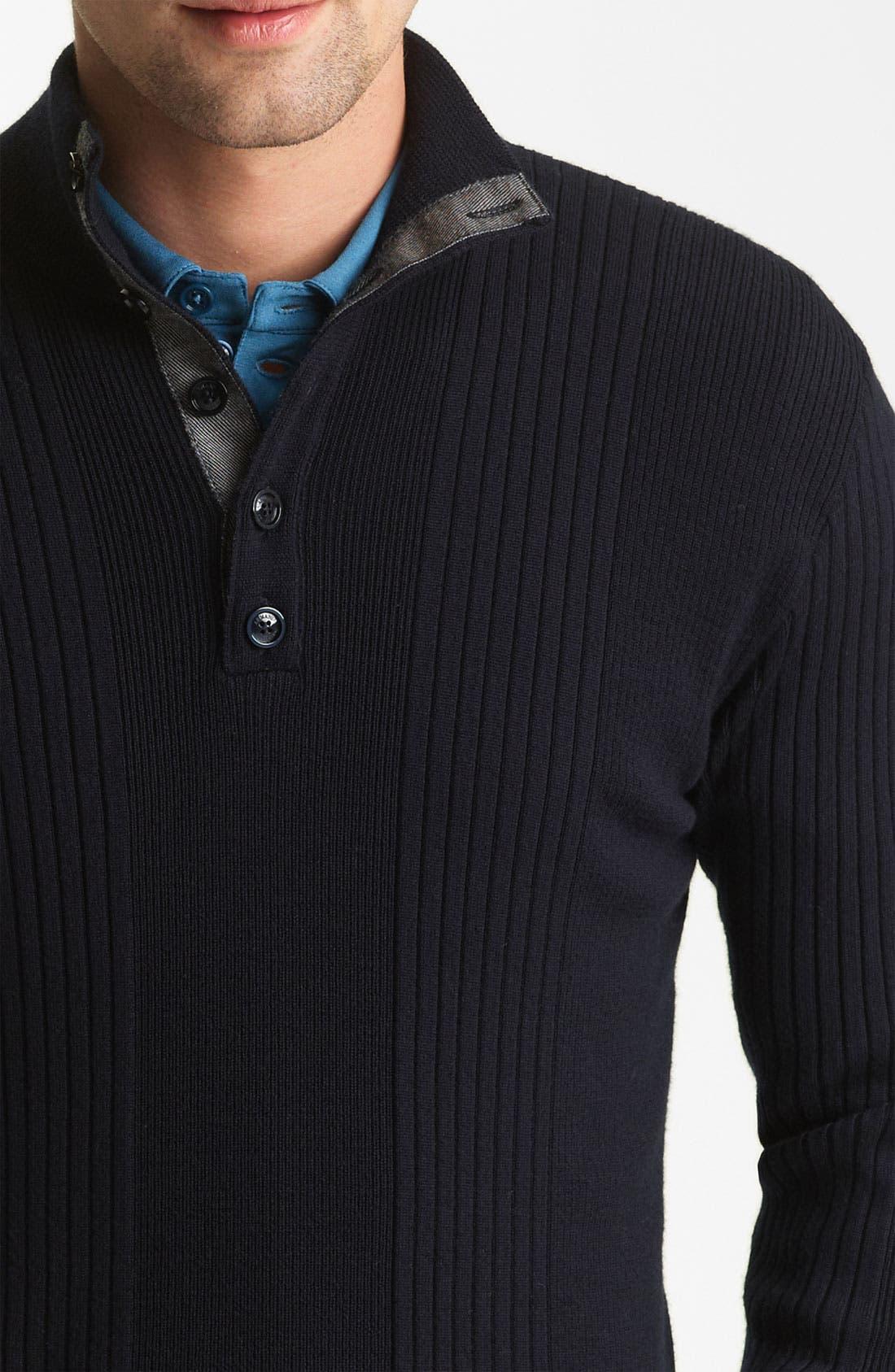 Alternate Image 3  - Armani Collezioni Rib Knit Mock Neck Sweater