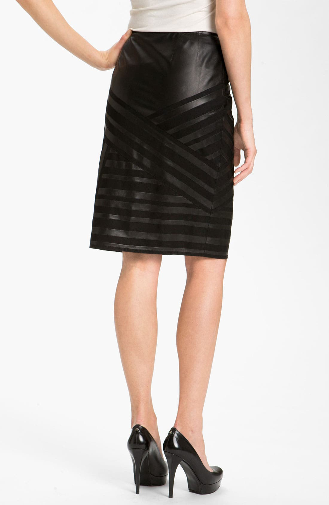Alternate Image 2  - Lafayette 148 New York Banded Leather Skirt