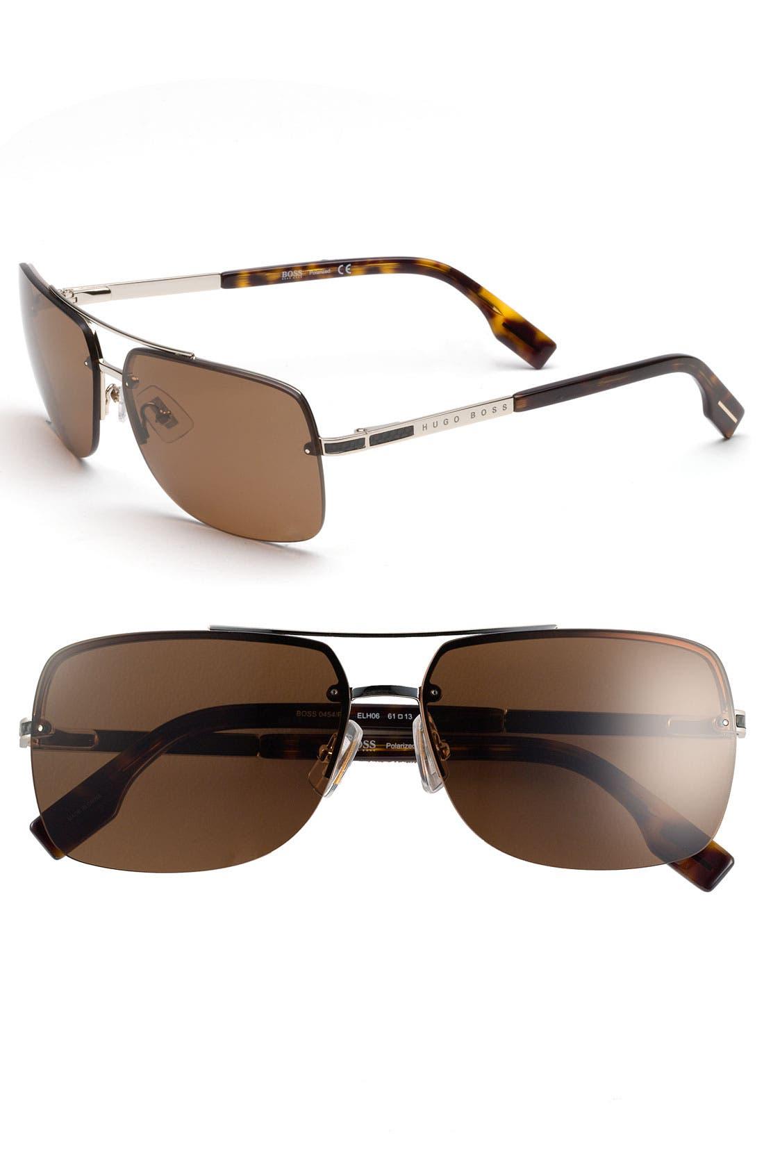 Main Image - BOSS HUGO BOSS 61mm Polarized Navigator Sunglasses