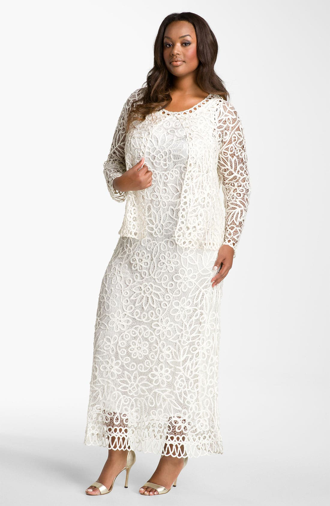 Alternate Image 1 Selected - Soulmates Crochet Dress with Jacket (Plus Size)