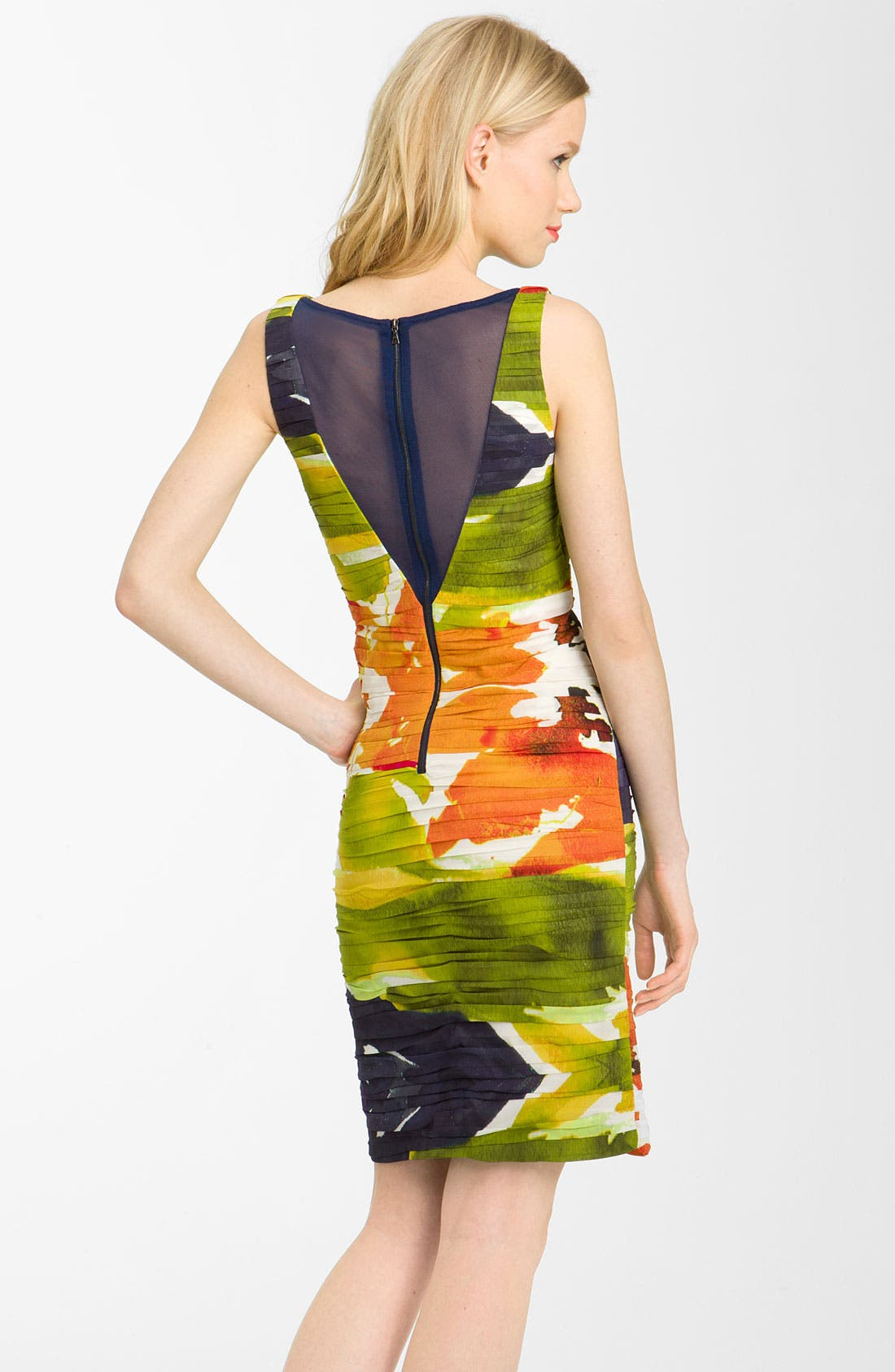 Alternate Image 2  - Alice + Olivia Ruched Stretch Silk Dress