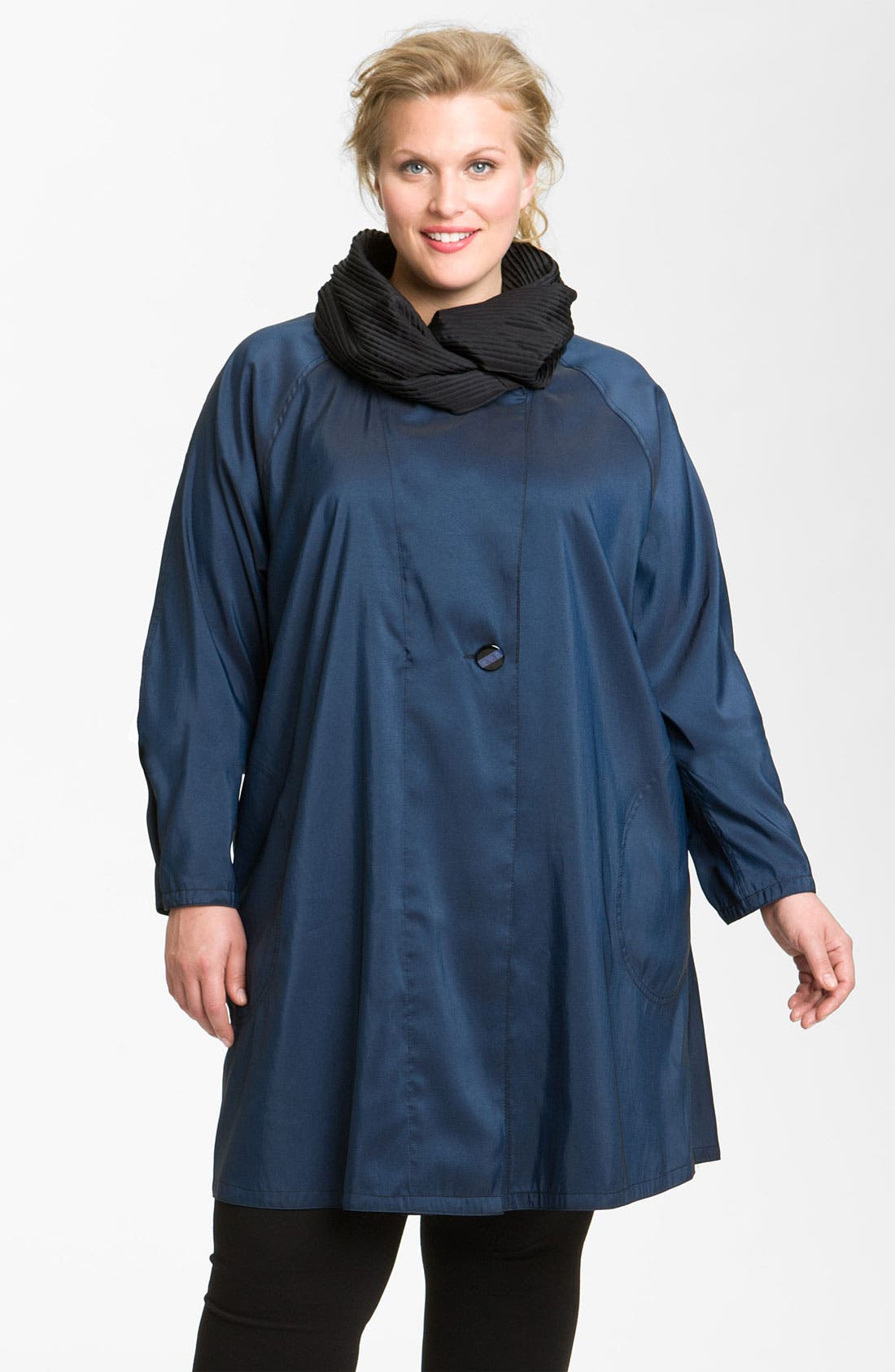 Alternate Image 1 Selected - Mycra Pac Designer Wear Reversible Pleat Hood Packable Travel Coat (Plus Size)