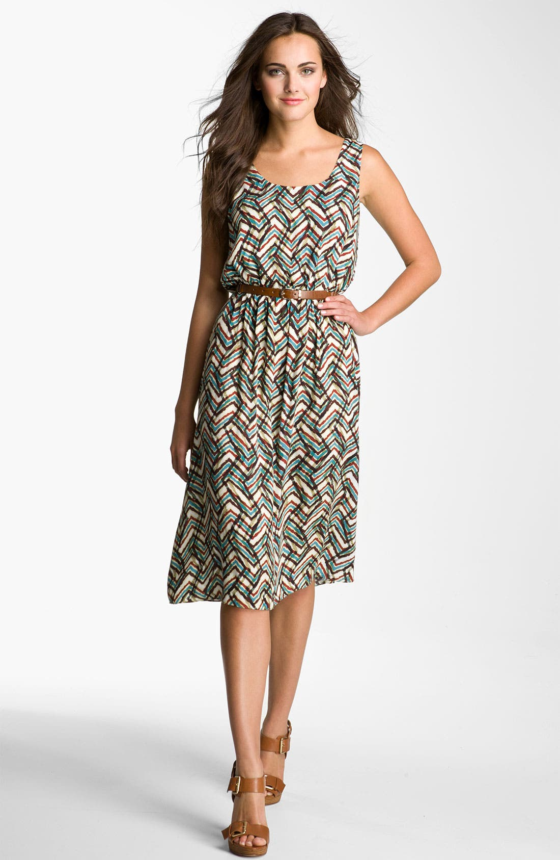 Alternate Image 1 Selected - Calvin Klein Scoop Neck Print Dress