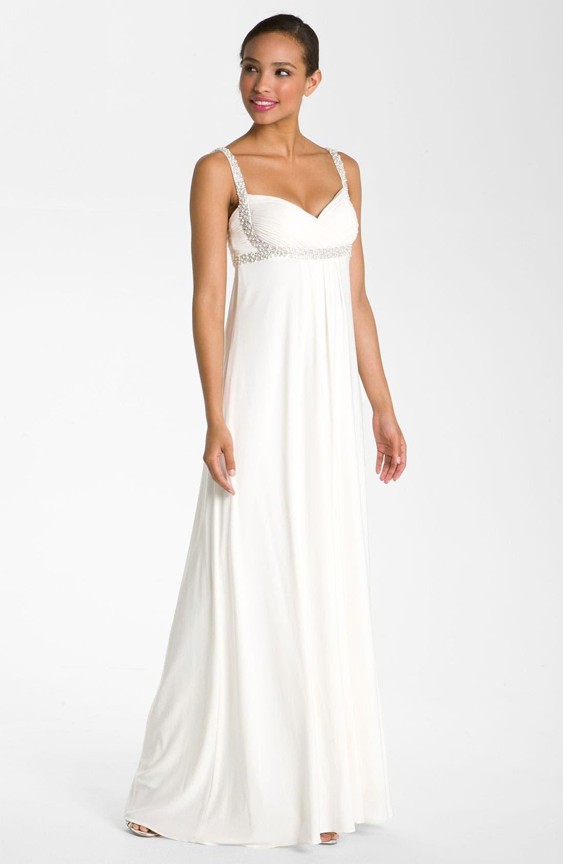 Main Image - JS Boutique Pearl Trim Crisscross Matte Jersey Gown