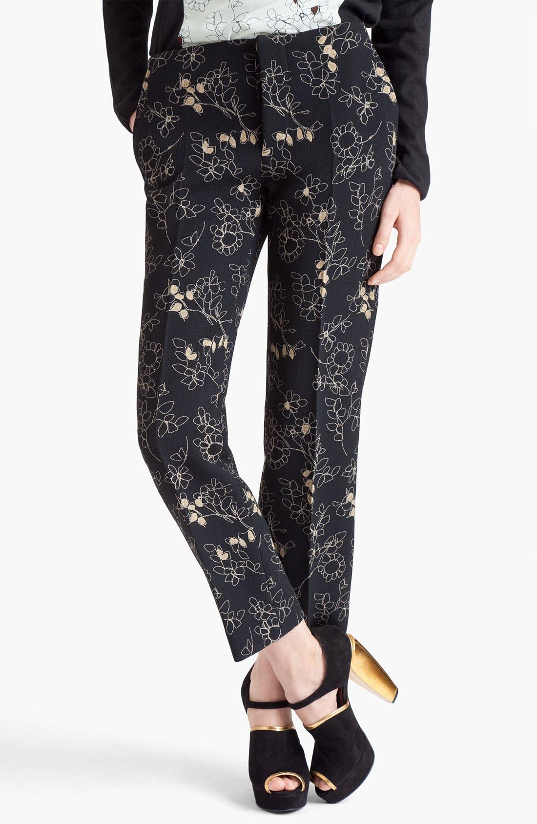 Main Image - Marni Print Crop Straight Leg Crepe Pants