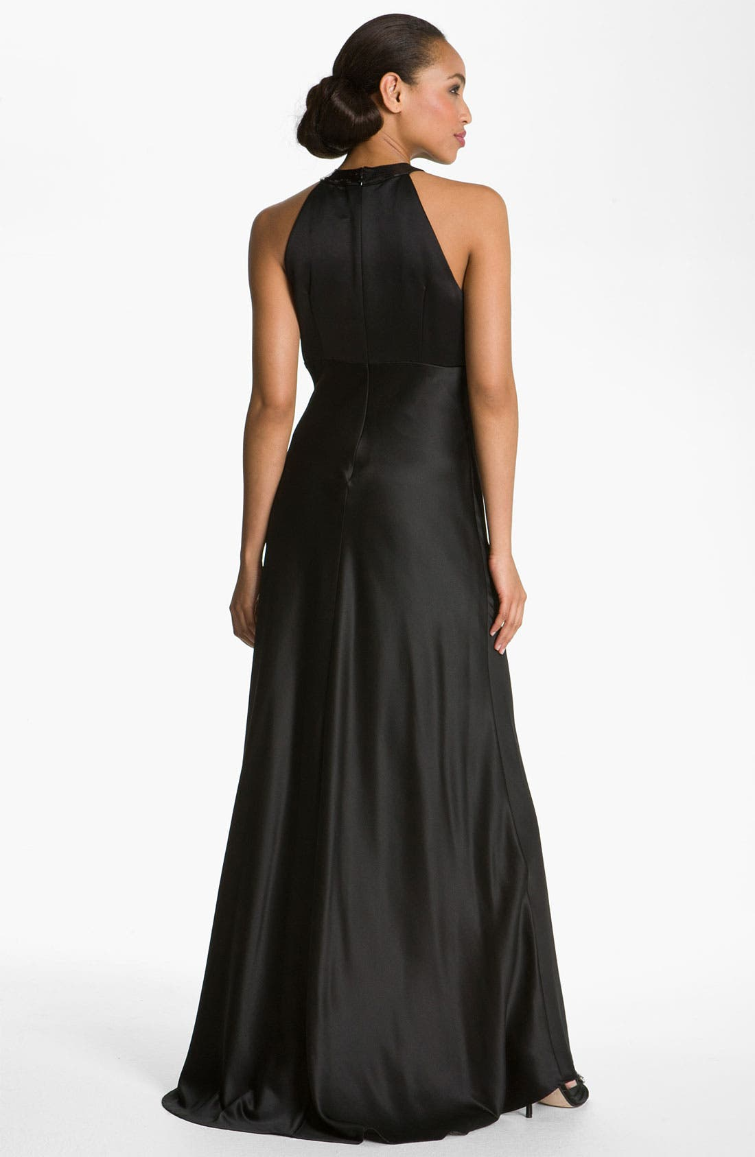 Alternate Image 2  - Calvin Klein Sequin Trim Satin Gown