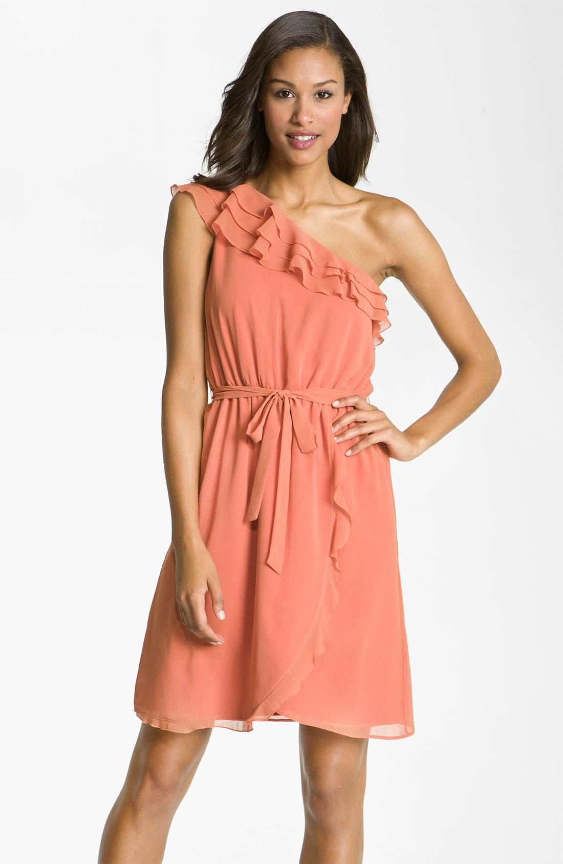 Alternate Image 1 Selected - Jessica Simpson One Shoulder Ruffle Trim Chiffon Dress