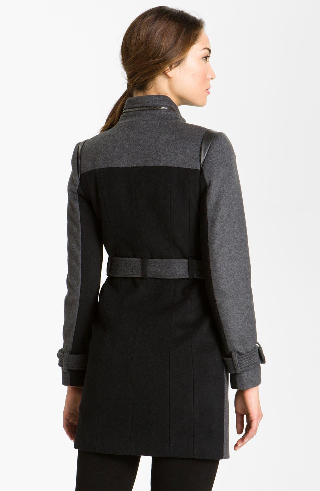 Alternate Image 2  - Kristen Blake Asymmetrical Zip Belted Coat
