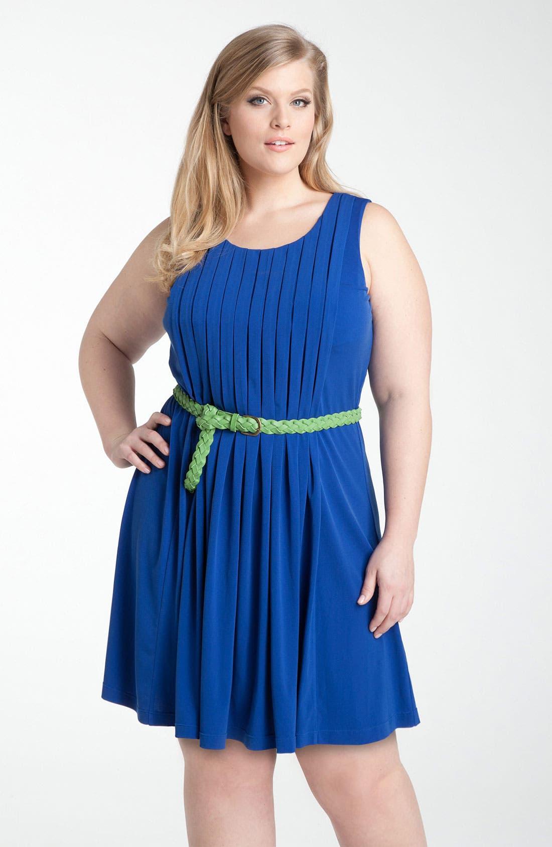 Alternate Image 1 Selected - Calvin Klein Belted Jersey Dress (Plus)