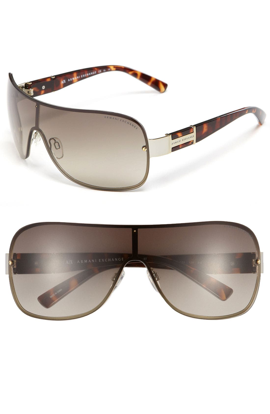 Main Image - AX Armani Exchange Shield Sunglasses