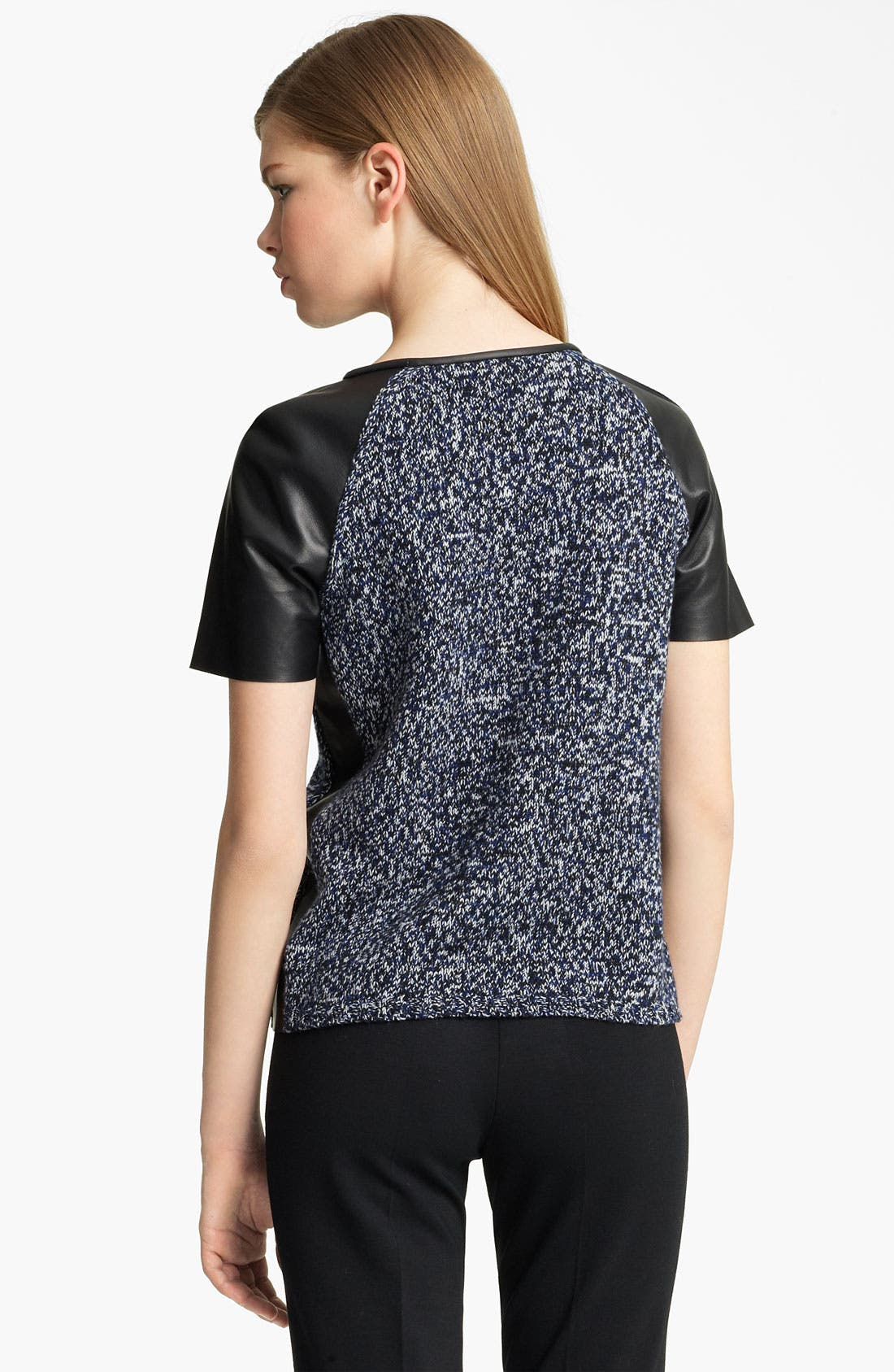 Alternate Image 2  - Jil Sander Leather Sleeve Marled Knit Top