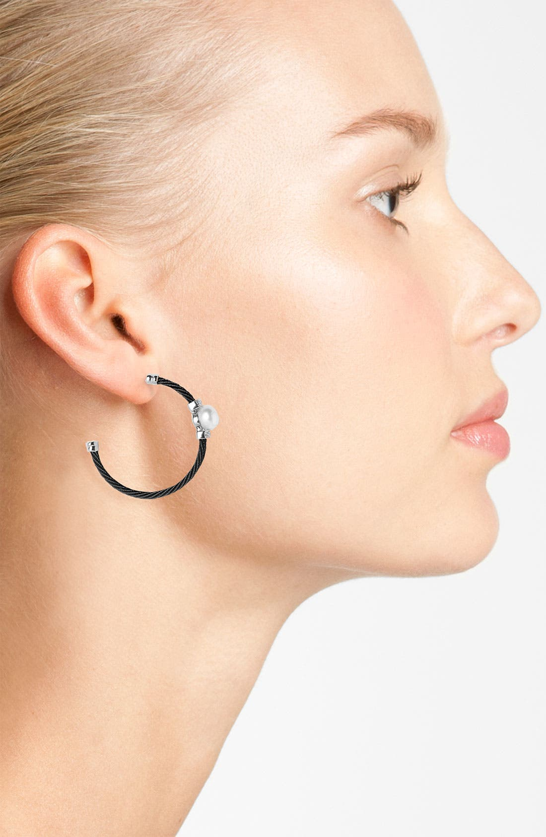 Alternate Image 2  - ALOR® Pearl & Diamond Hoop Earrings