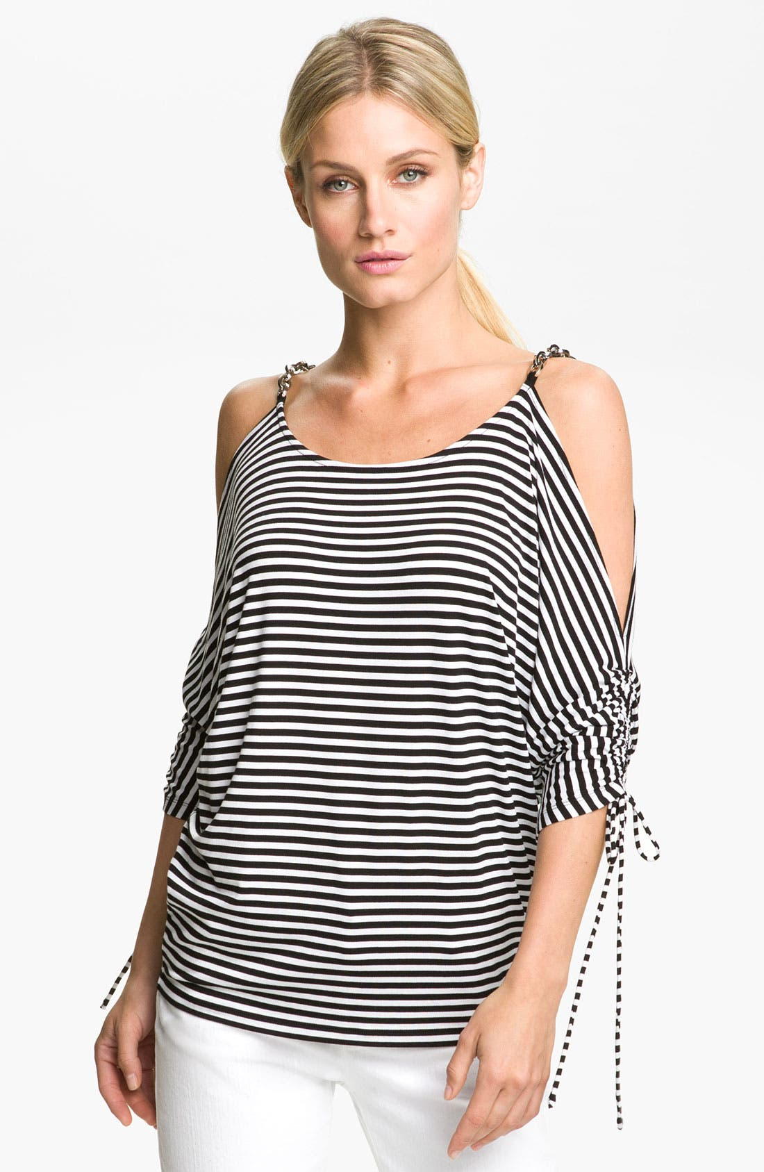 Alternate Image 1 Selected - MICHAEL Michael Kors Stripe Cold Shoulder Top