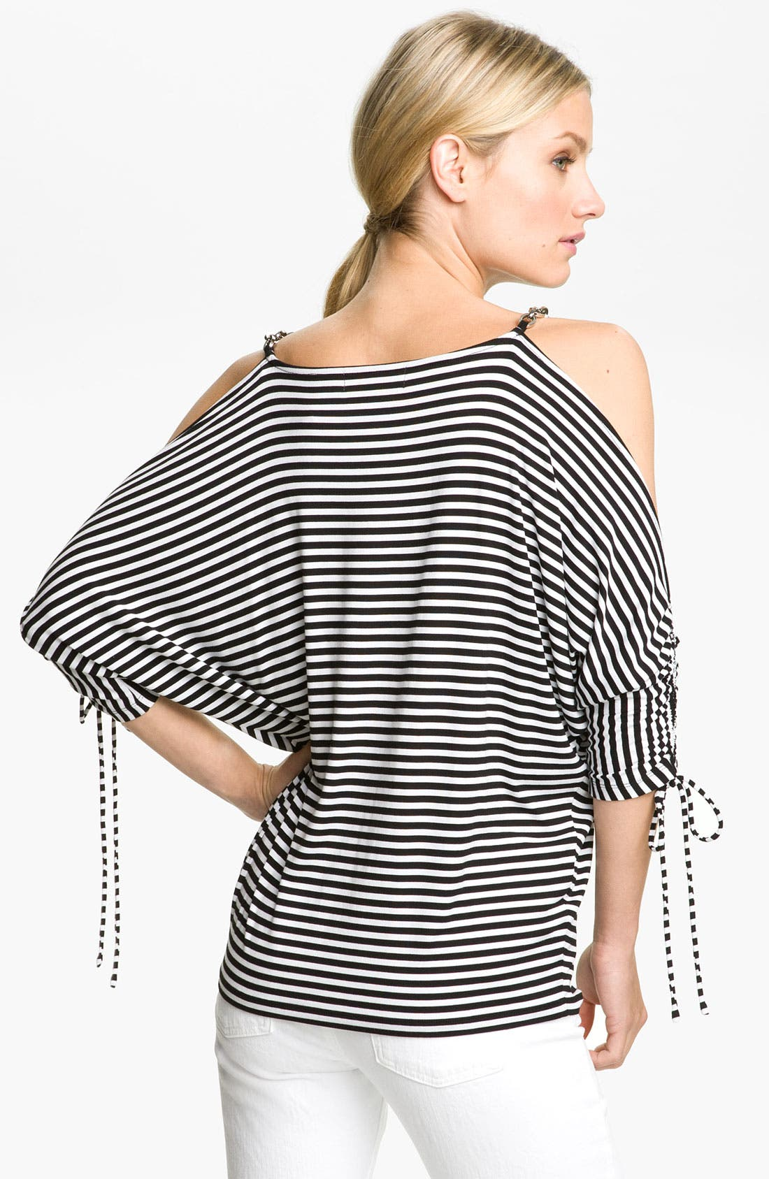 Alternate Image 2  - MICHAEL Michael Kors Stripe Cold Shoulder Top