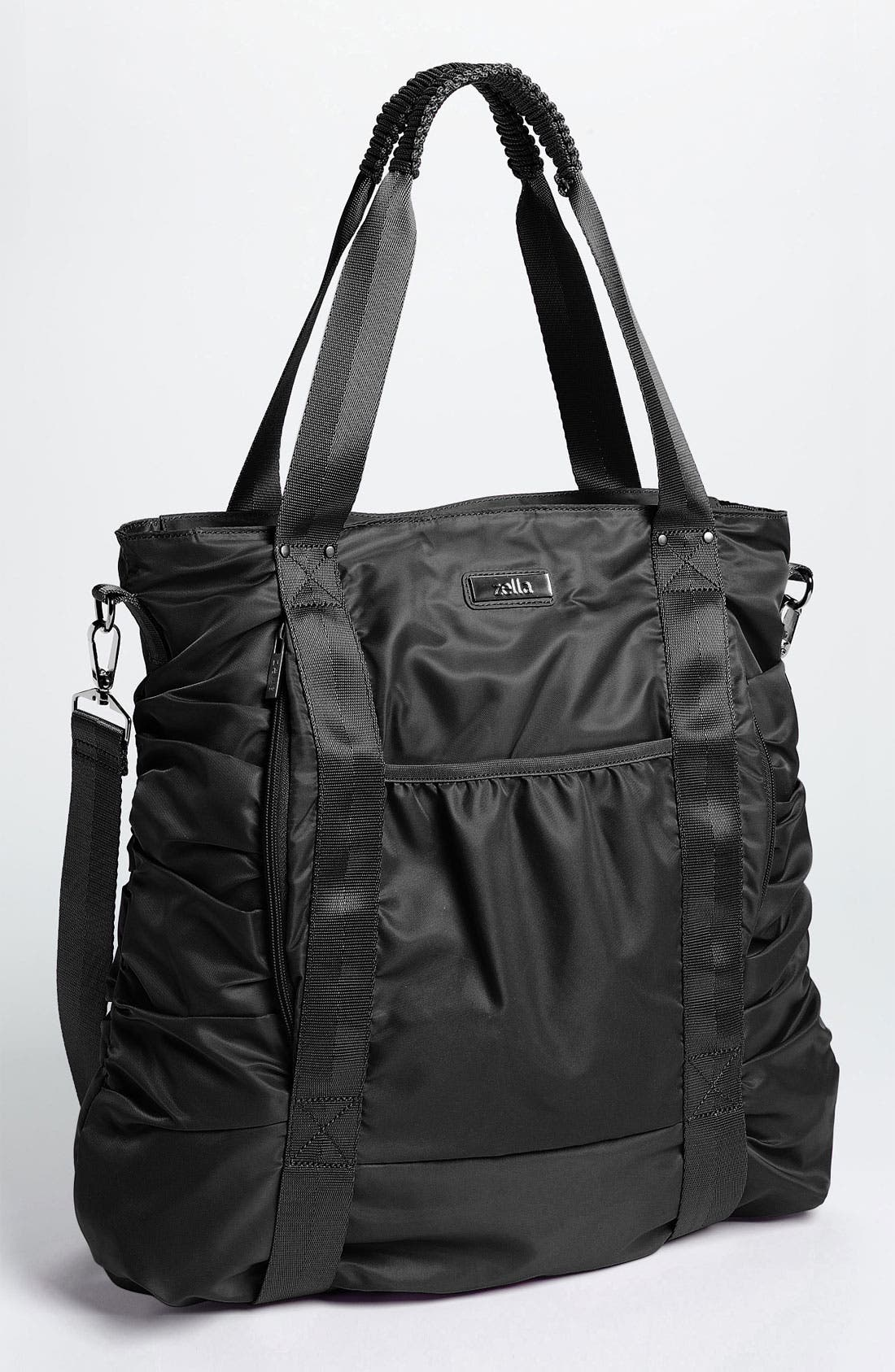 Gathered Tote,                         Main,                         color, Woven Black