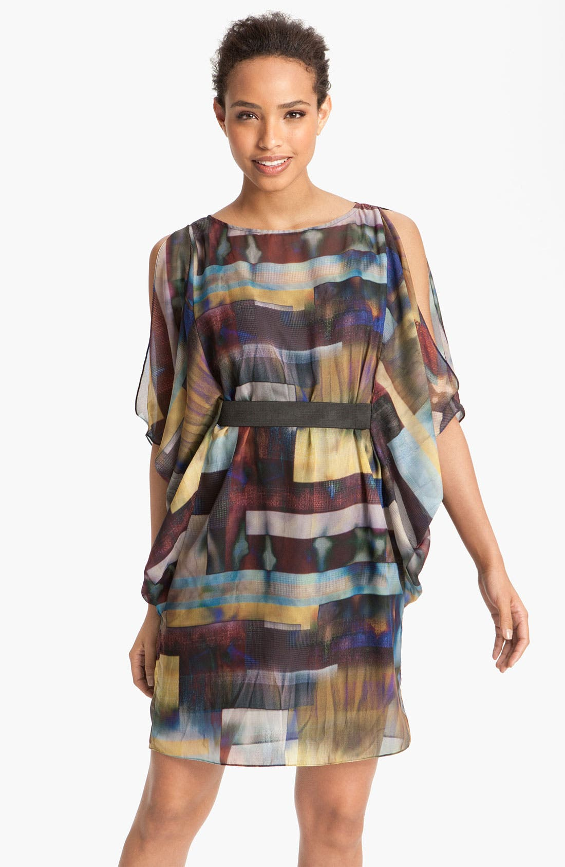 Main Image - Aidan by Aidan Mattox Print Chiffon Blouson Dress