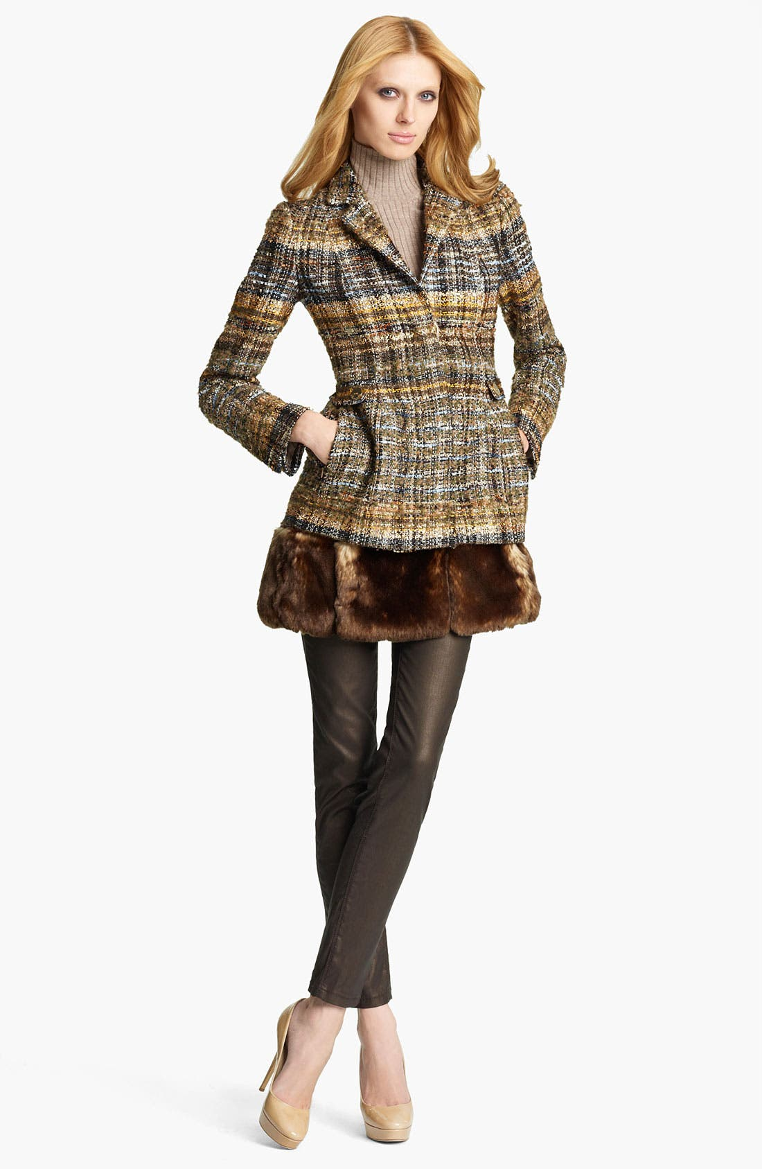 Alternate Image 1 Selected - Blumarine Tweed Coat with Removable Faux Fur Hem