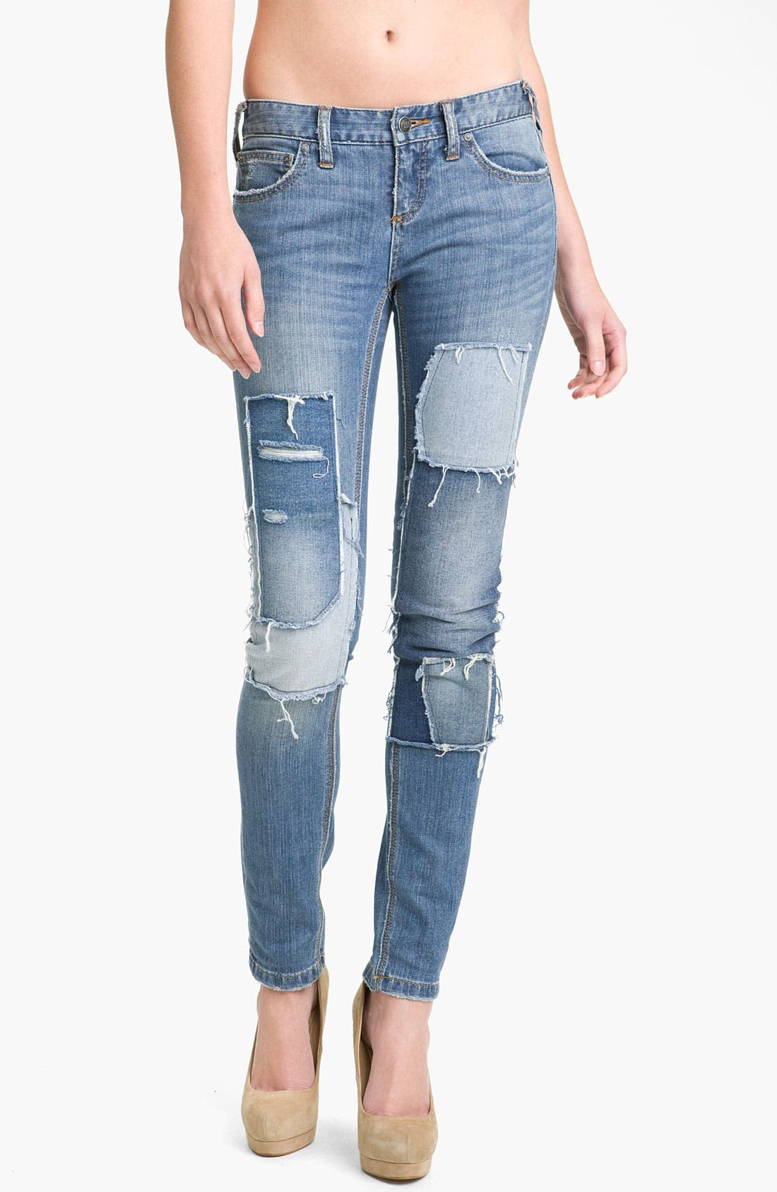 Alternate Image 1 Selected - Free People Patched Skinny Jeans (Hillside)