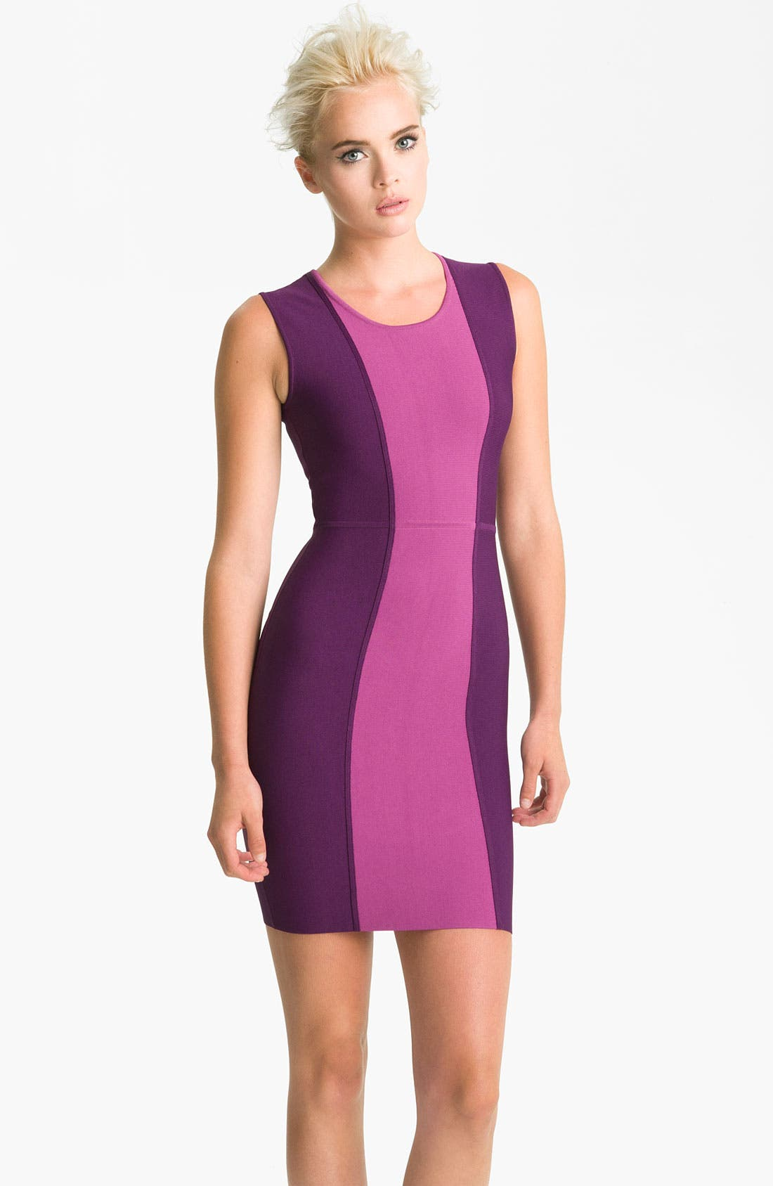 Main Image - BCBGMAXAZRIA Colorblock Knit Sheath Dress