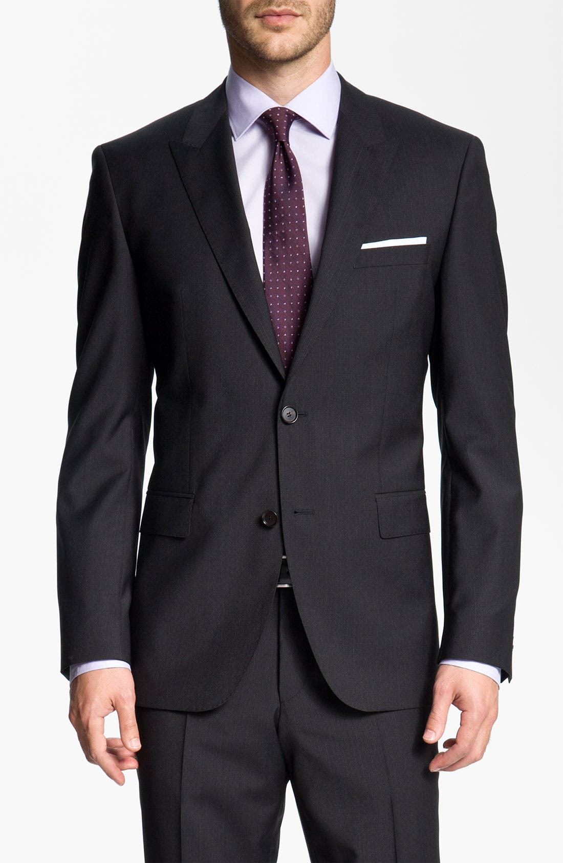 Alternate Image 1 Selected - BOSS Black 'Journey/Sharp' Trim Fit Stripe Suit