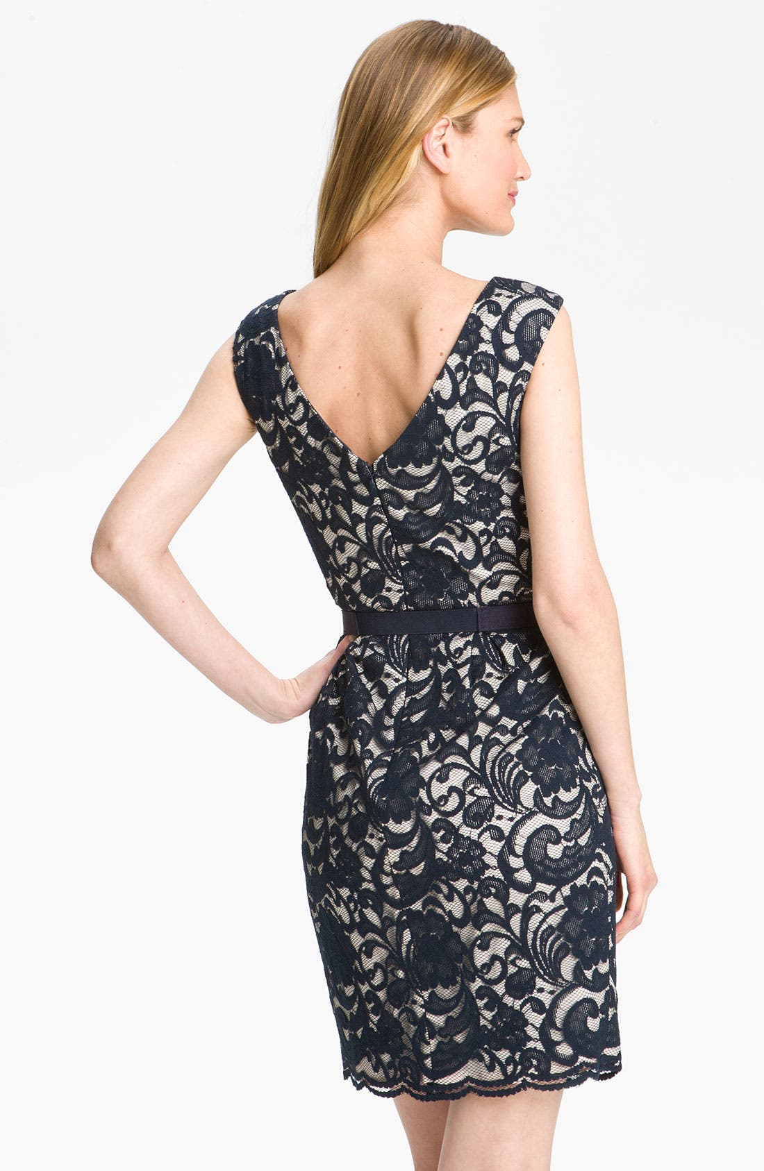 Alternate Image 2  - Eliza J Jewel Belted Lace Sheath Dress