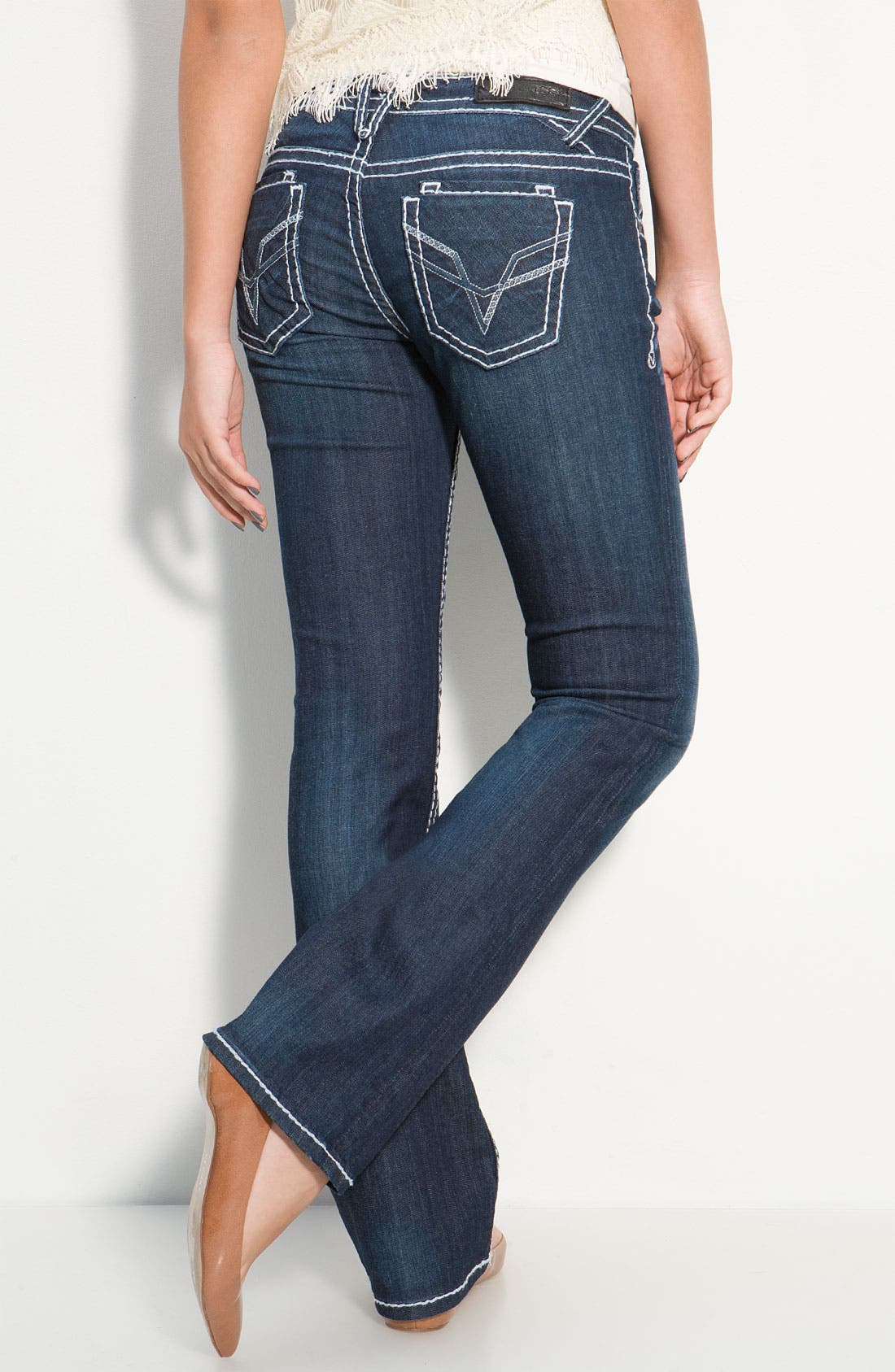 Alternate Image 2  - Vigoss Thick Stitch Bootcut Jeans  (Juniors)