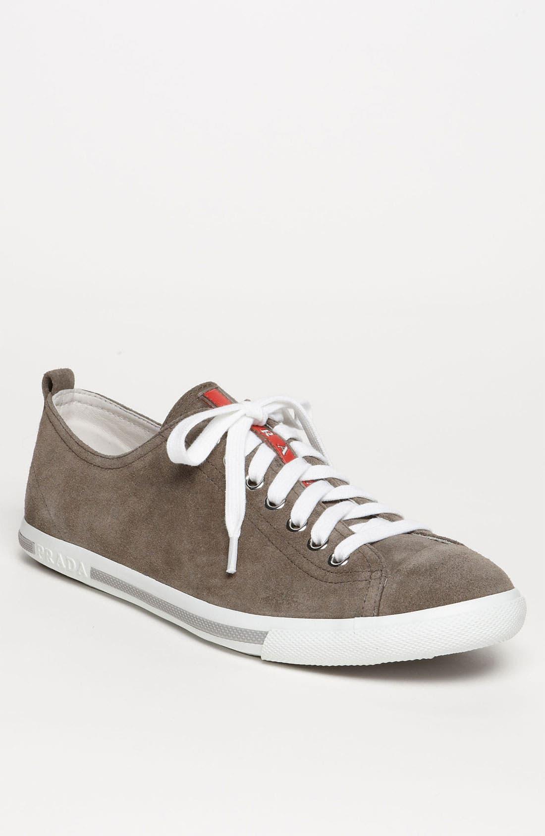 Main Image - Prada Low Profile Suede Sneaker