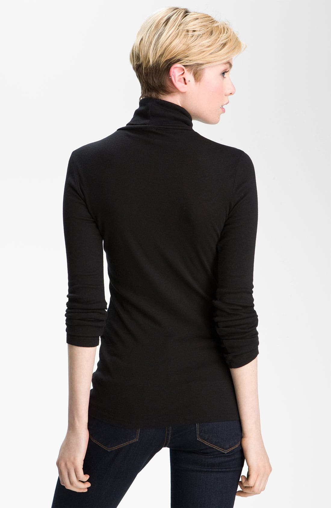Fitted Turtleneck,                             Alternate thumbnail 2, color,                             Black
