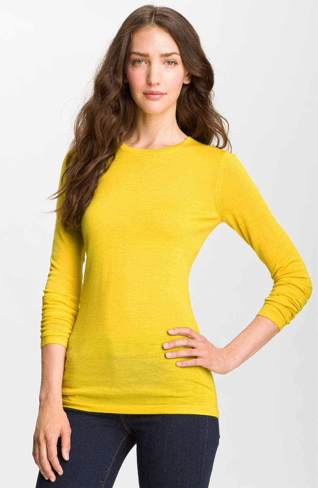 Refined Wool Crewneck Sweater,                             Main thumbnail 1, color,                             Yellow
