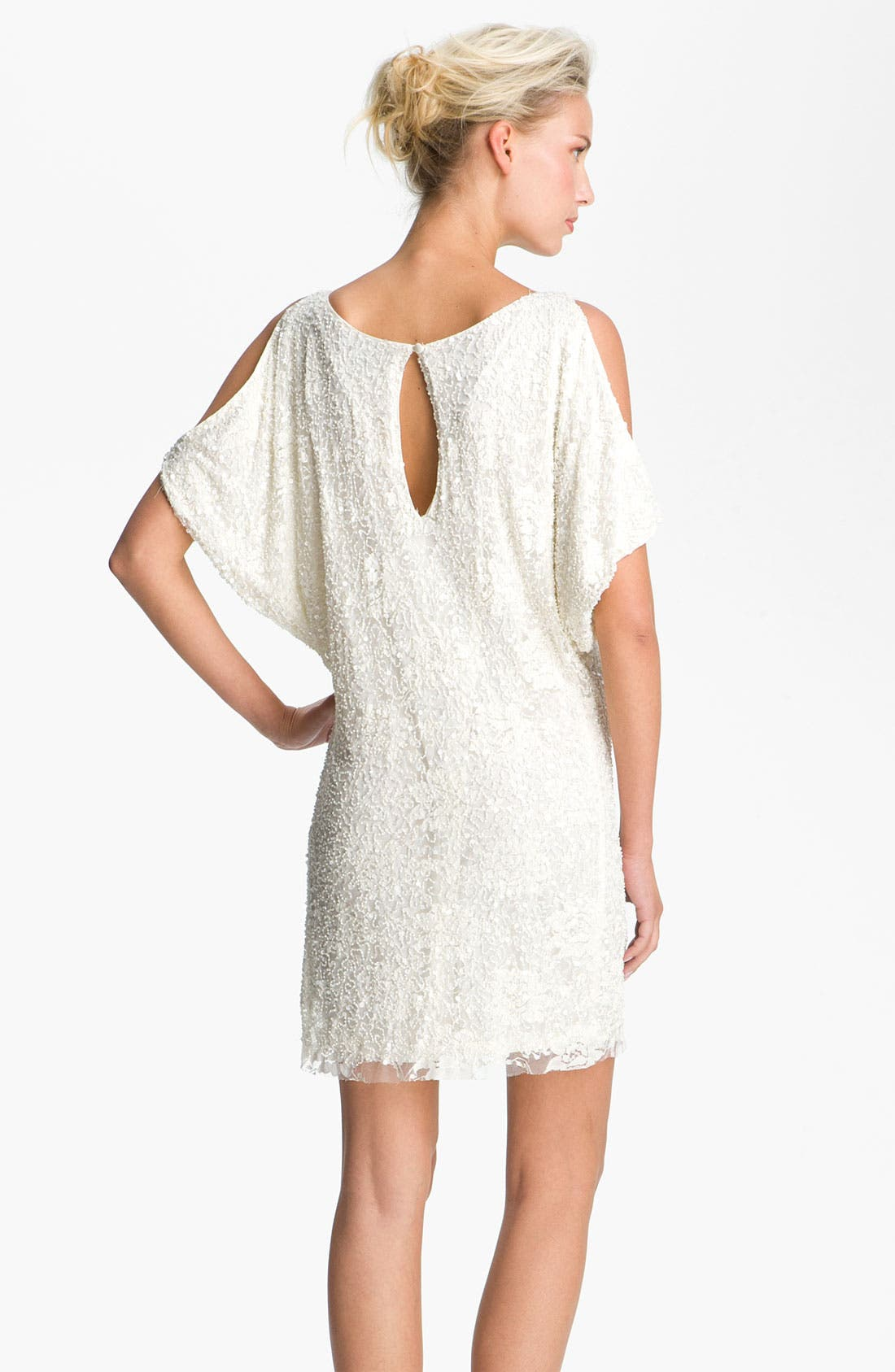 Alternate Image 2  - Aidan Mattox Embellished Split Sleeve Lace Shift Dress