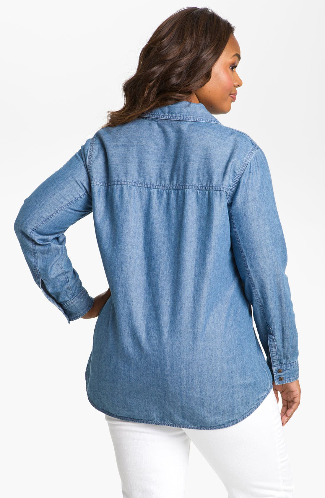 Alternate Image 2  - Sejour Split Neck Chambray Shirt (Plus)