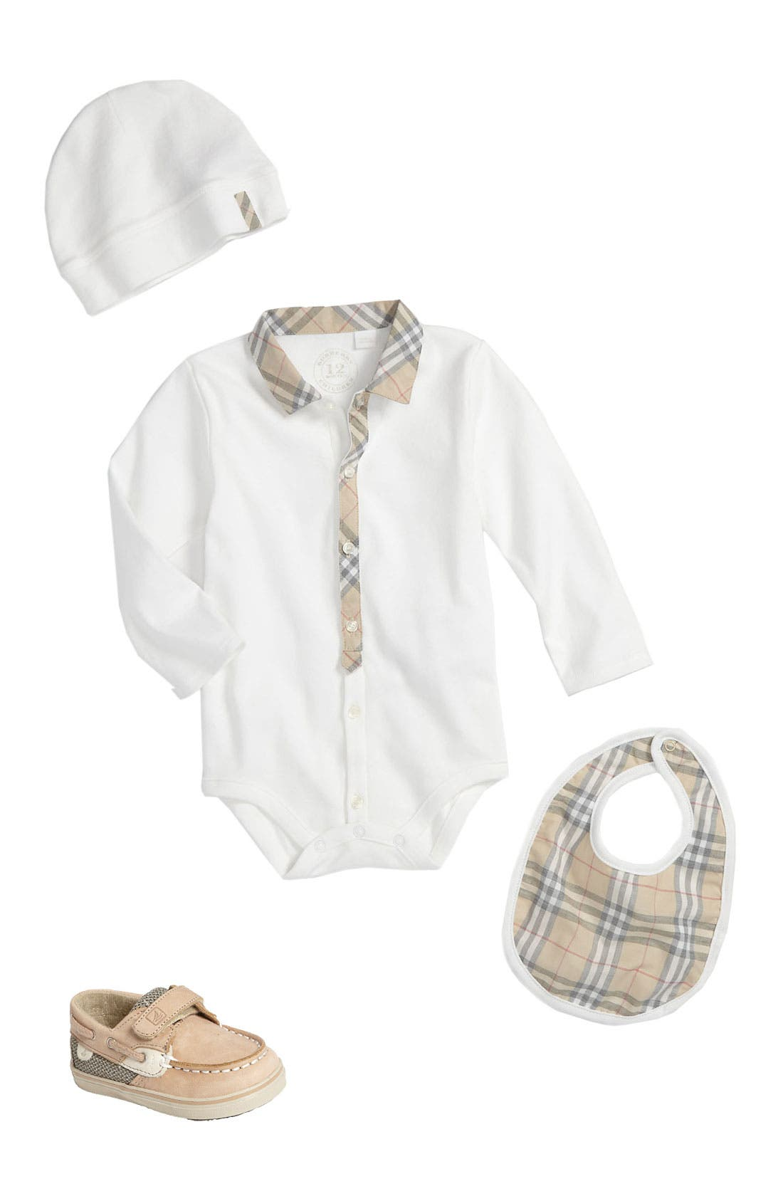 Alternate Image 1 Selected - Burberry Bodysuit & Sperry Top-Sider® Boat Shoe (Infant)
