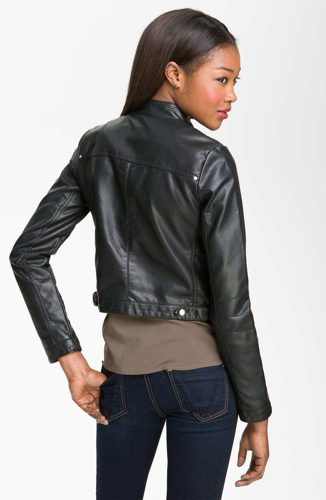 Alternate Image 2  - Collection B 'Vera' Faux Leather Biker Jacket (Juniors)