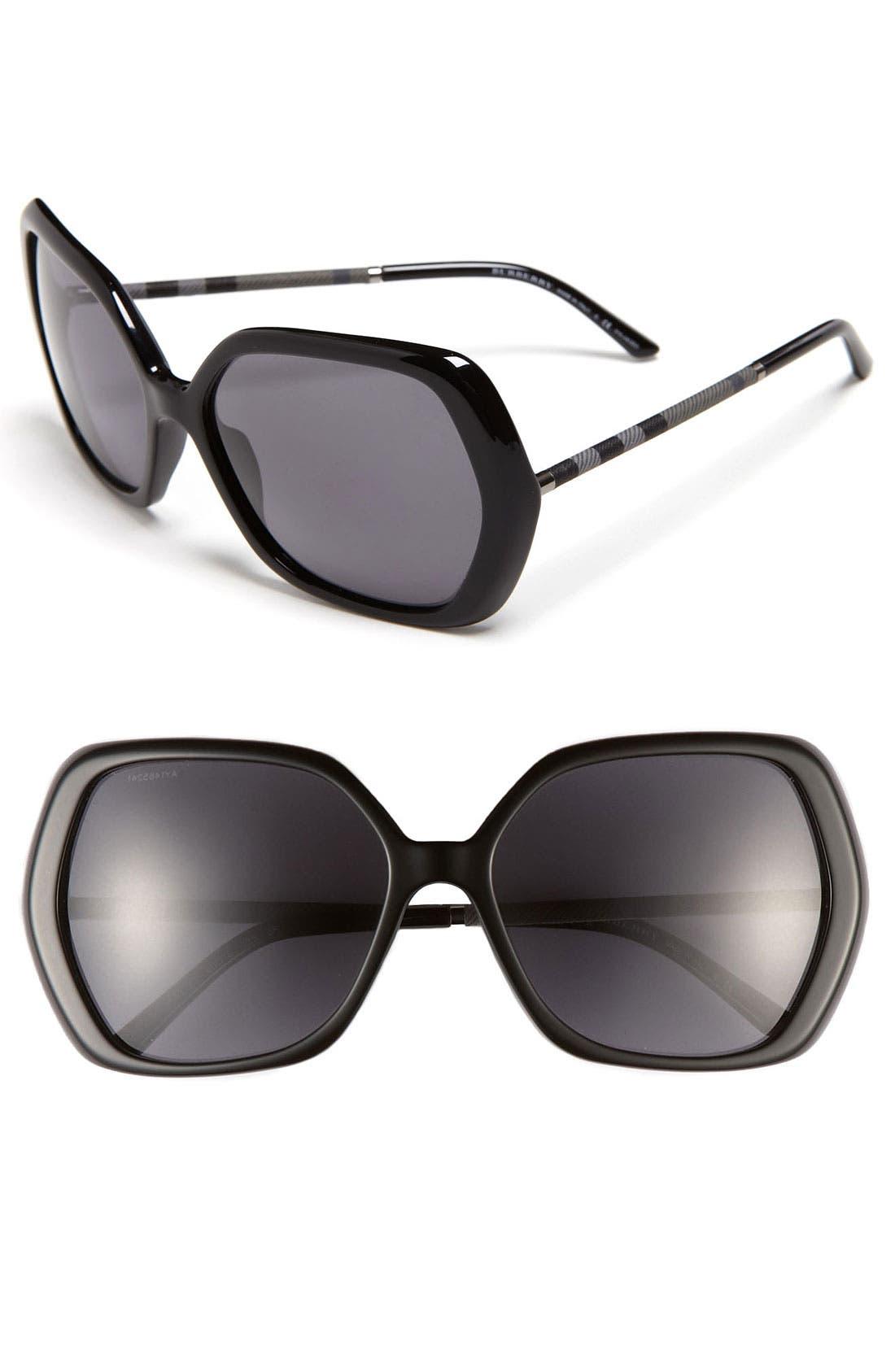 Alternate Image 1 Selected - Burberry Oversized Polarized Sunglasses