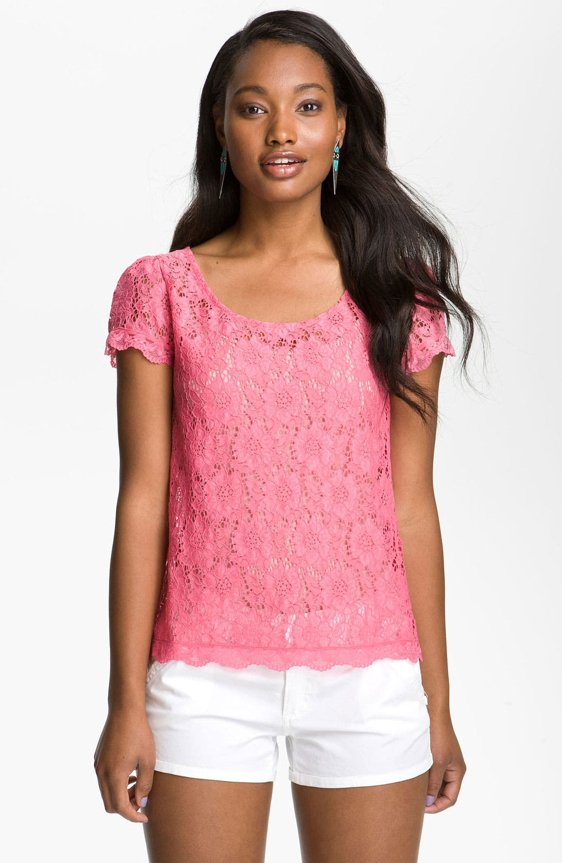 Alternate Image 1 Selected - Frenchi® Lace Tee (Juniors)