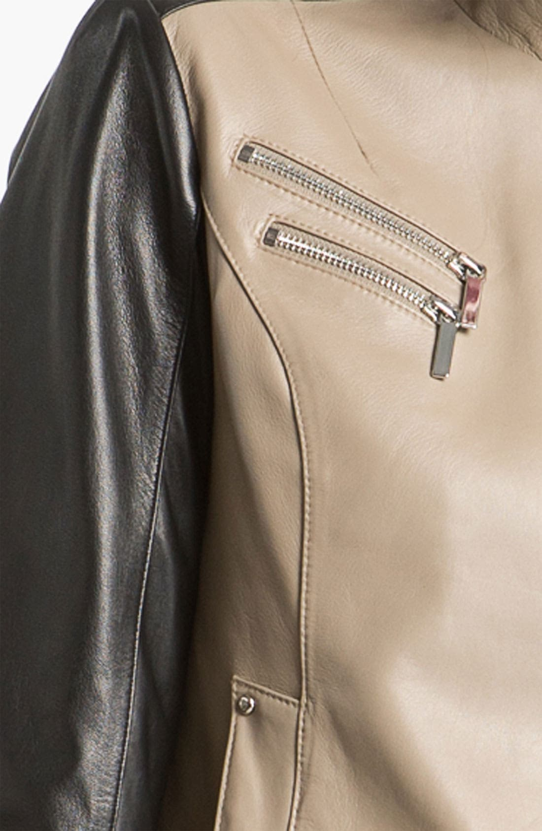 Alternate Image 3  - Laundry by Shelli Segal Asymmetrical Zip Colorblock Leather Jacket