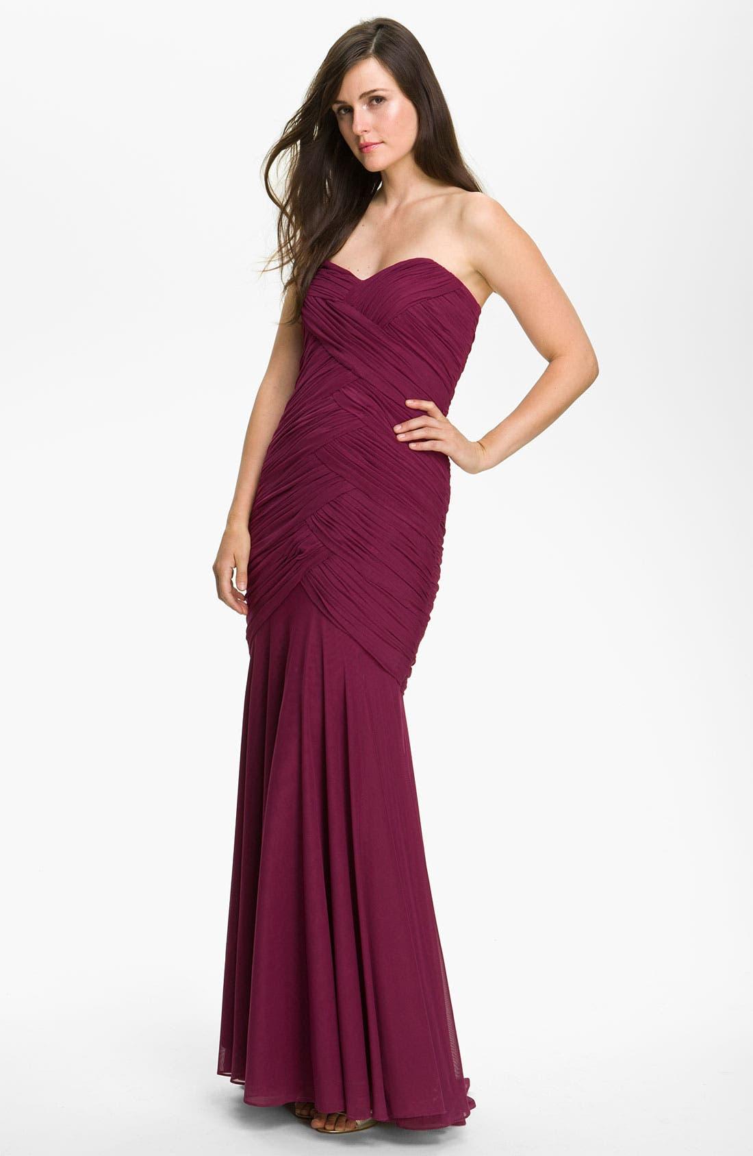 Main Image - Veni Infantino Weave Detail Mesh Fishtail Gown & Bolero