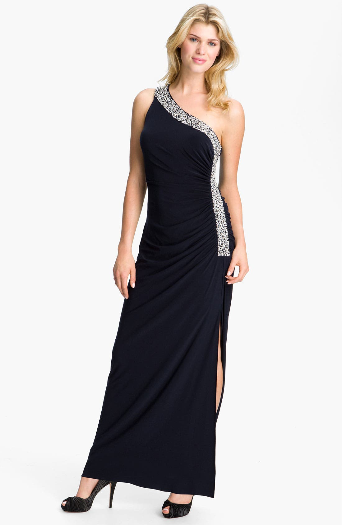 Alternate Image 1 Selected - Betsy & Adam Embellished Trim One Shoulder Jersey Gown