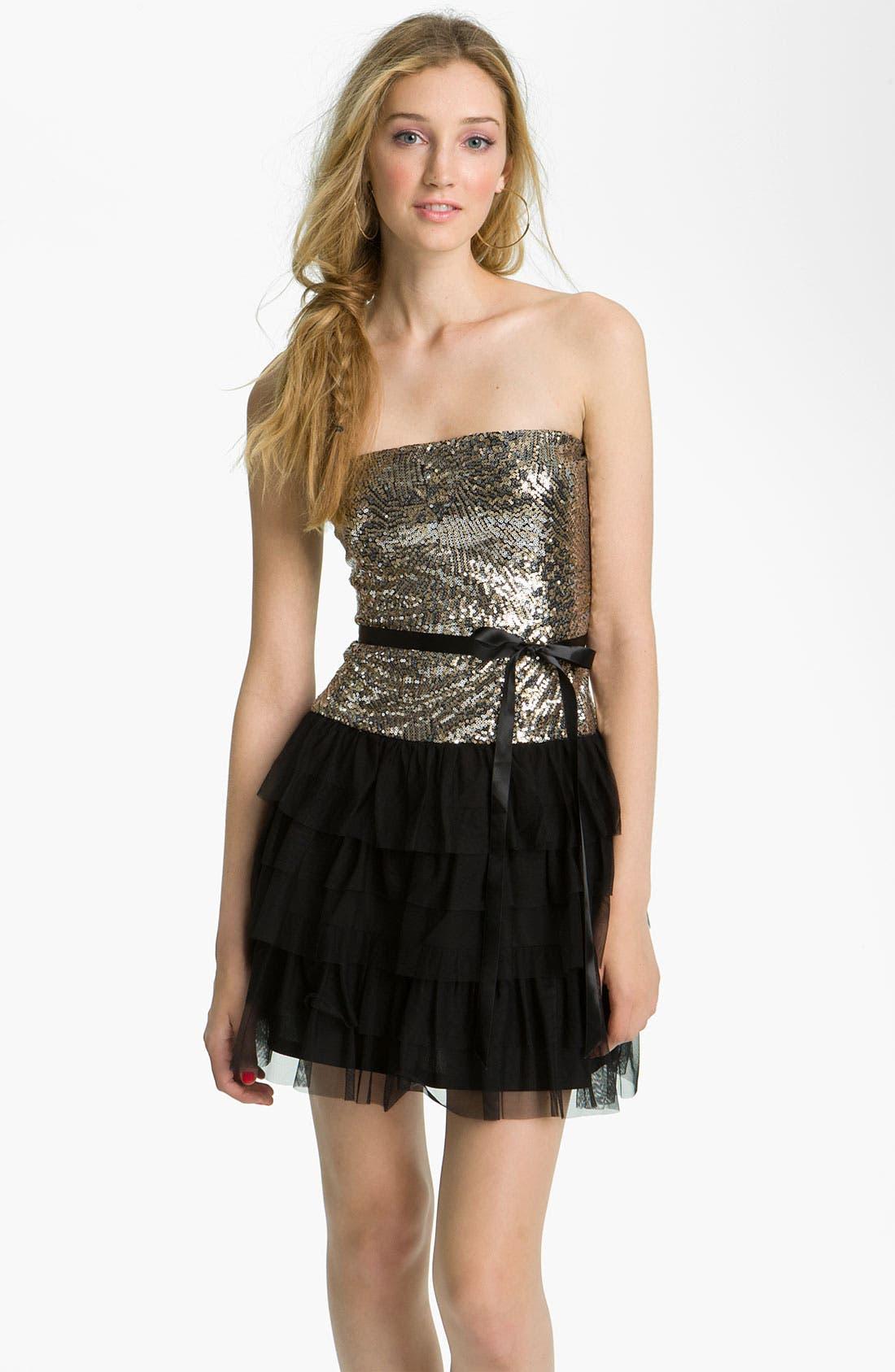 Alternate Image 1 Selected - As U Wish Sequin & Ruffle Party Dress (Juniors)