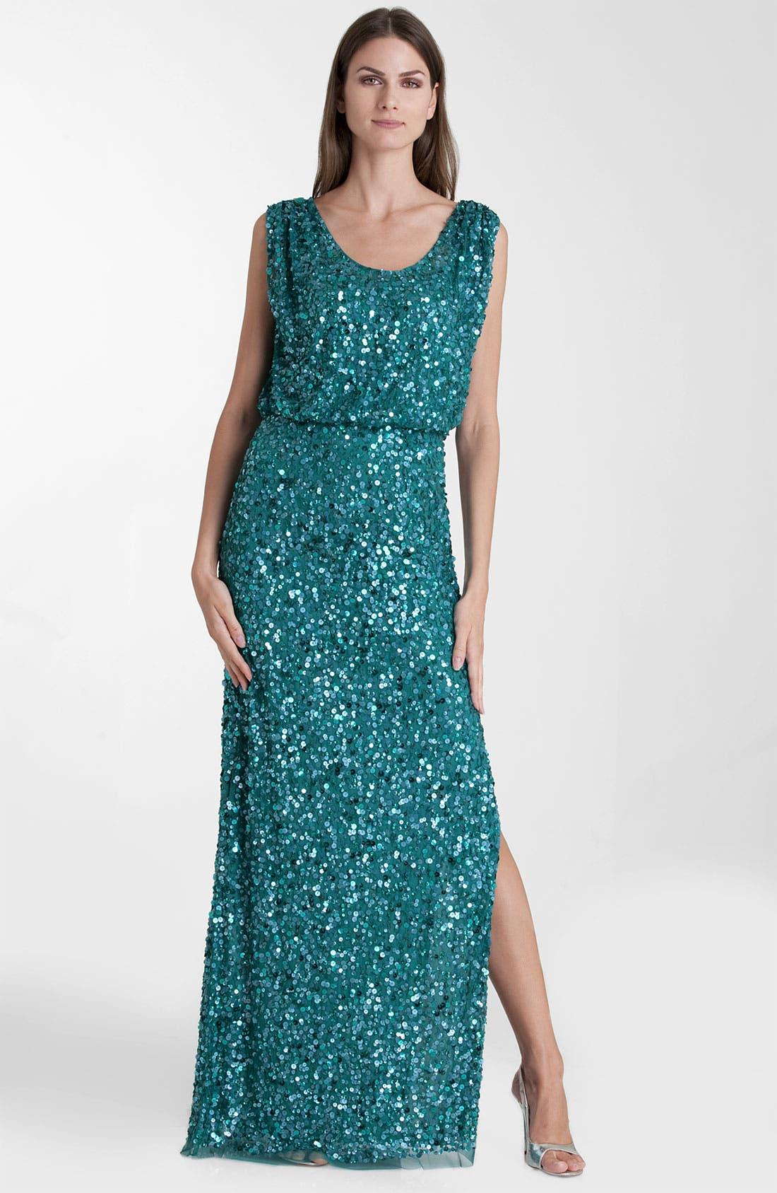 Main Image - JS Collections Blouson Bodice Sequin Mesh Gown (Petite)