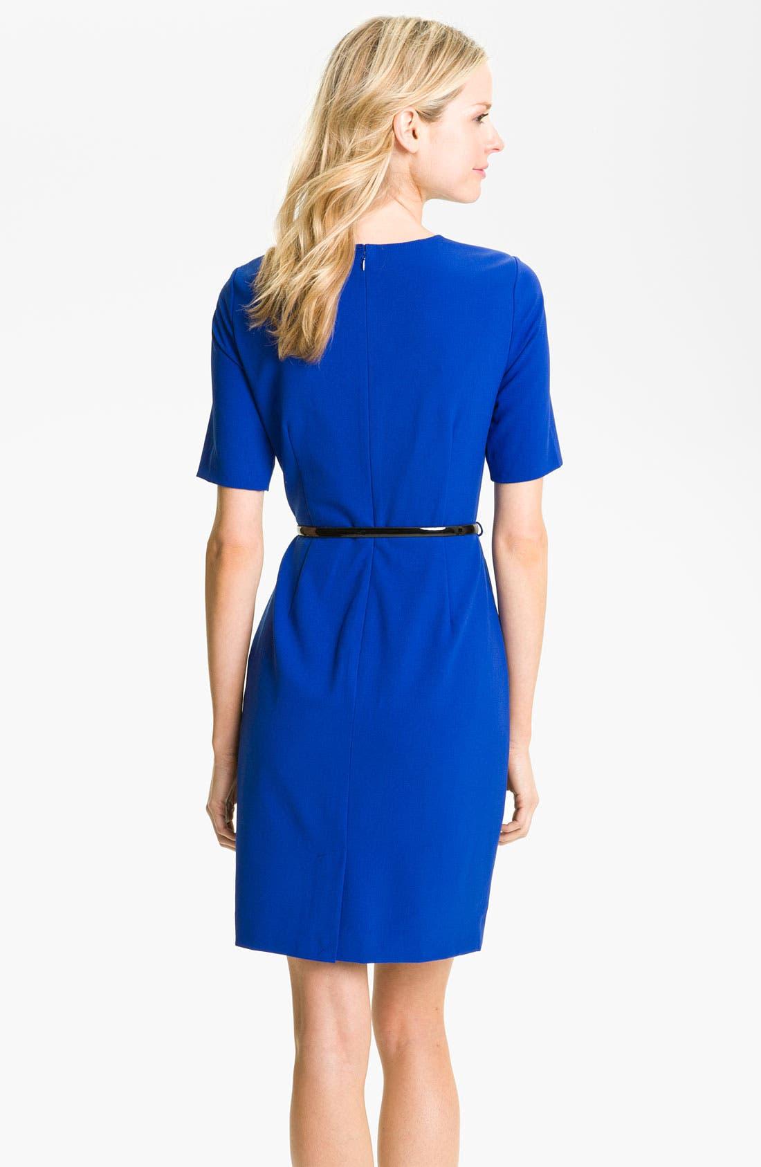 Alternate Image 2  - Calvin Klein Belted Keyhole Sheath Dress