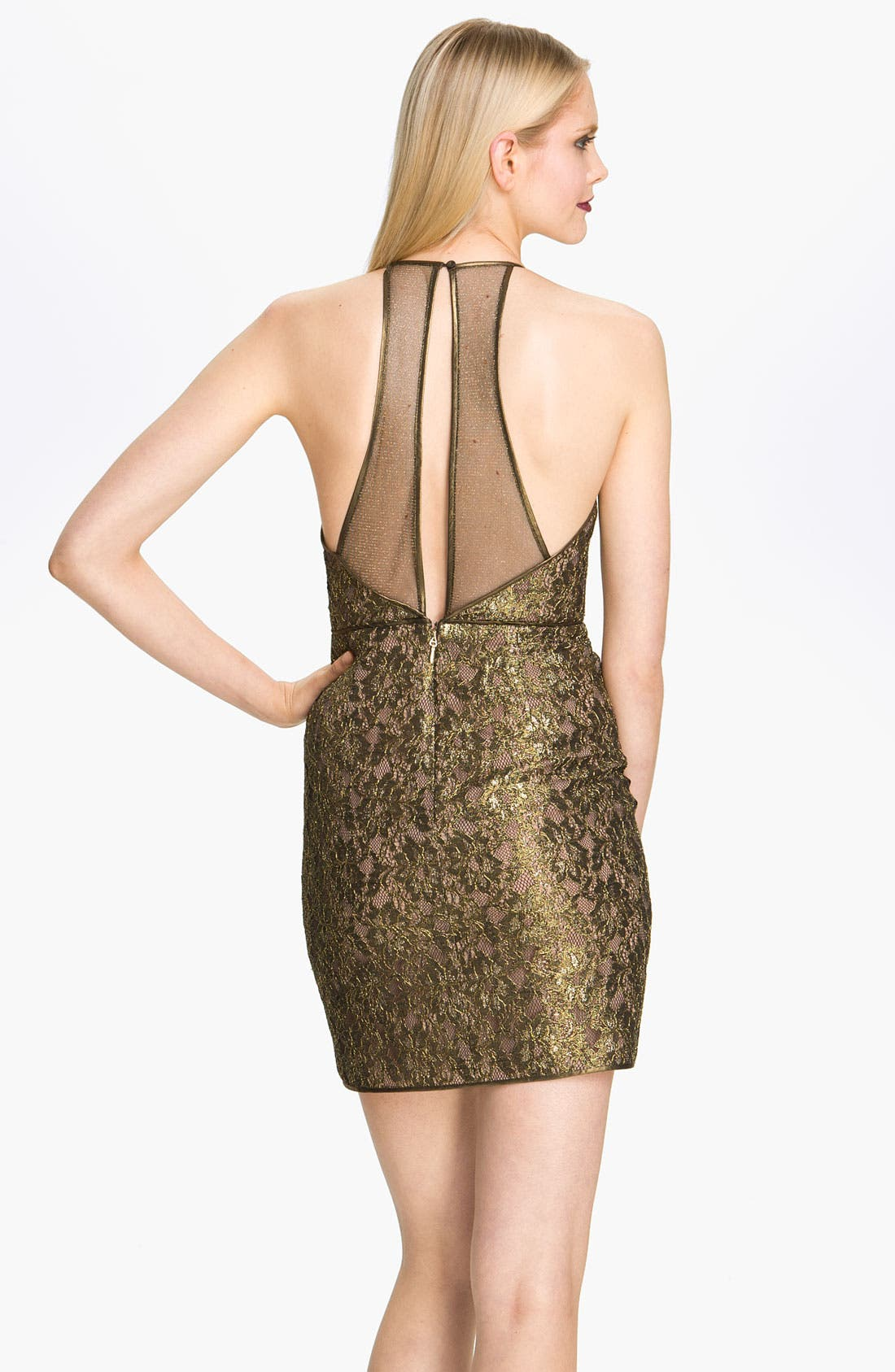 Alternate Image 2  - BCBGMAXAZRIA Metallic Lace Mesh Panel Minidress