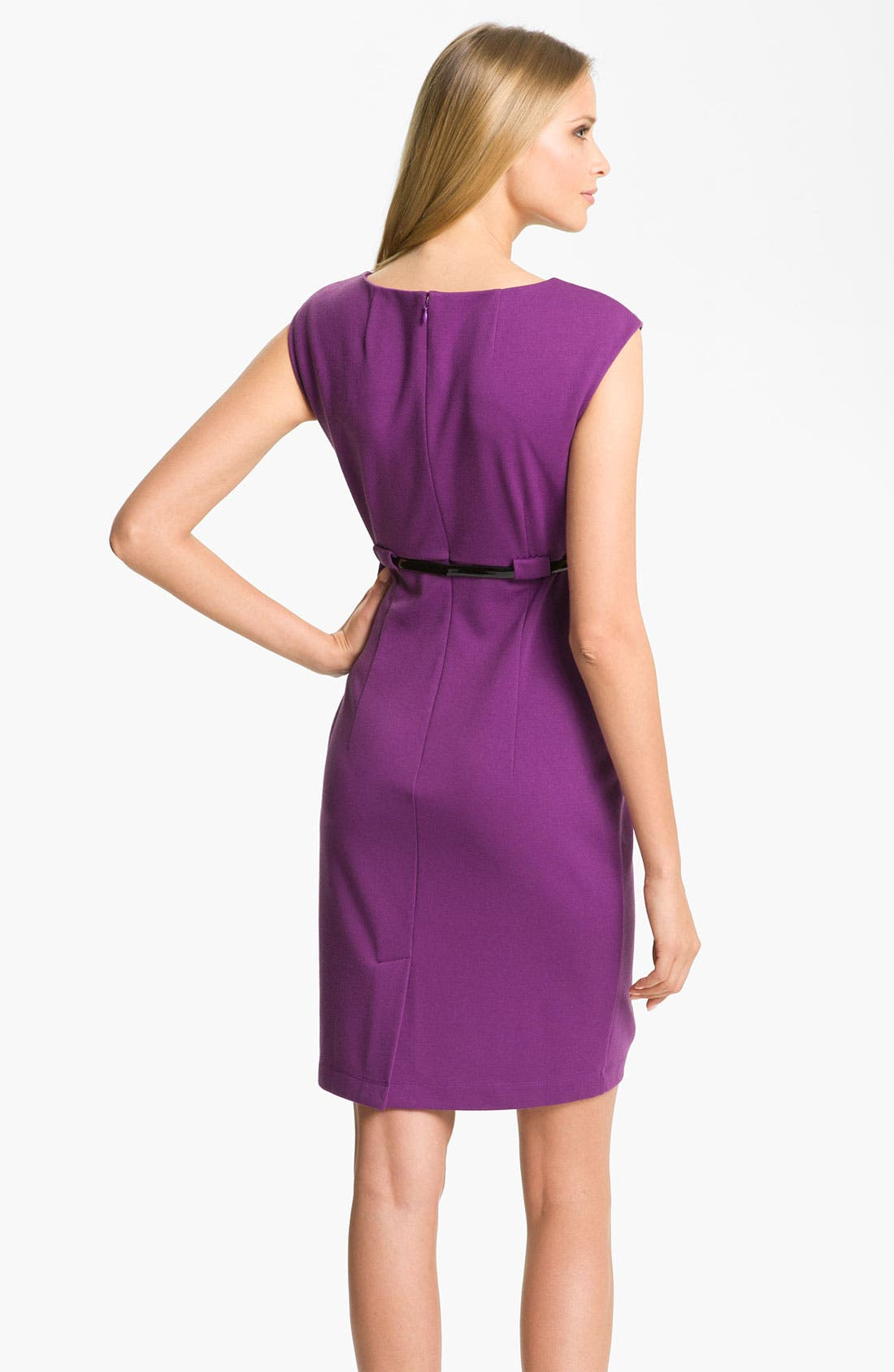 Alternate Image 2  - Calvin Klein 'Stretch Luxe' Belted Sheath Dress