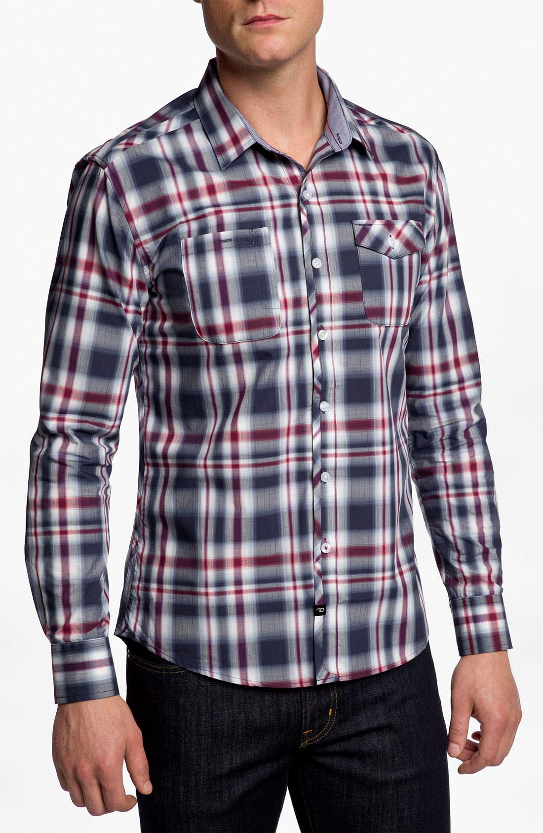 Main Image - 7 Diamonds 'Everyday Shelter' Plaid Trim Fit Cotton Sport Shirt