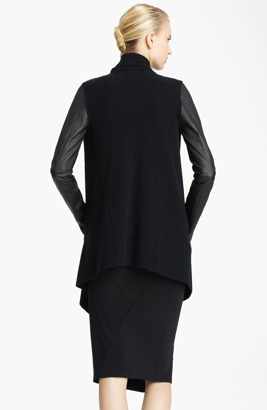 Alternate Image 2  - Donna Karan Collection Leather Sleeve Knit Cozy